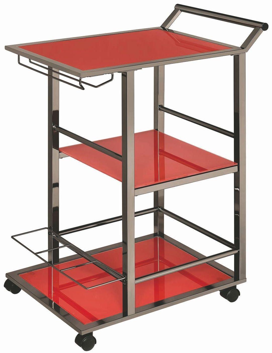 Rec Room Black Nickel and Red Serving Cart