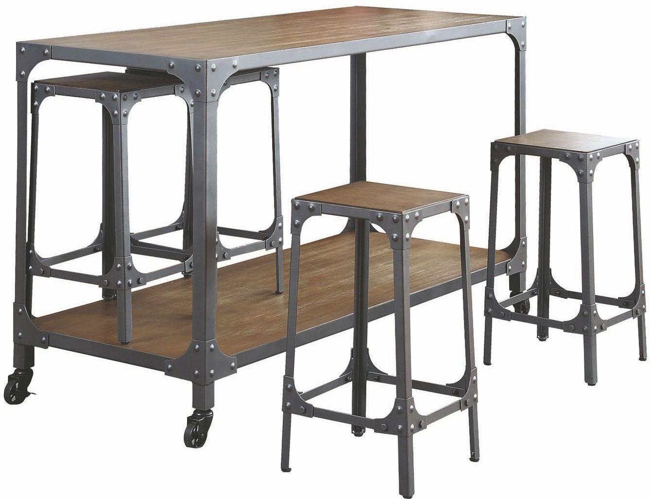 Gunmetal Chrome Powder Kitchen Island Set Coaster Furniture