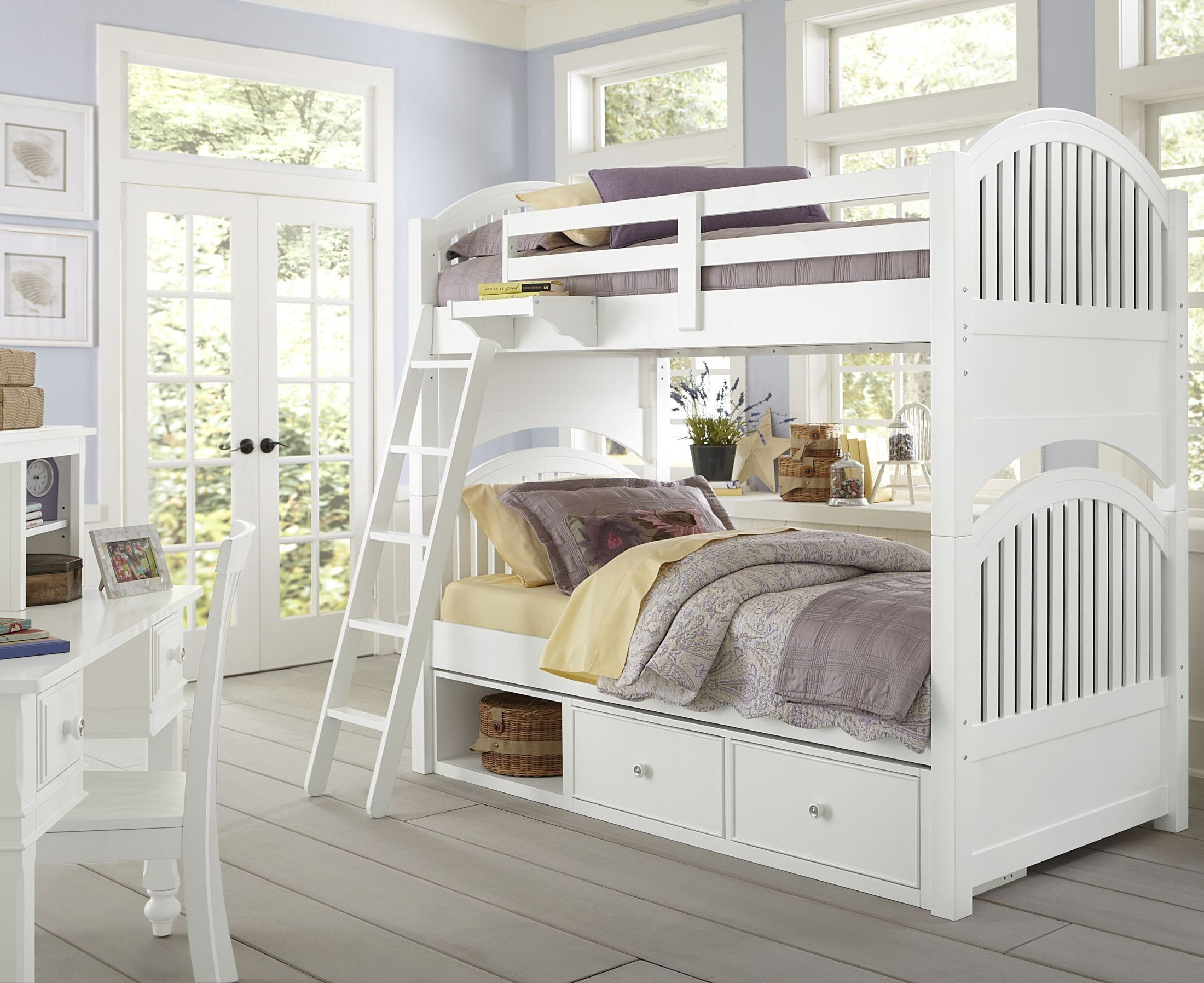Lake house white adrain youth bunk bedroom set with storage 1031ns ne kids Lake home bedroom furniture