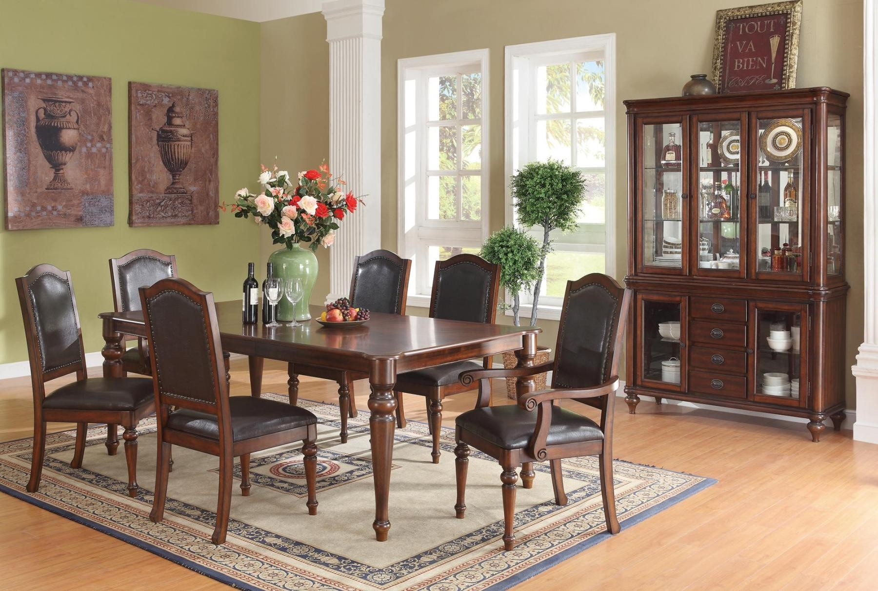 Anson brown rectangular dining room set 1034 coaster for Brown dining room set