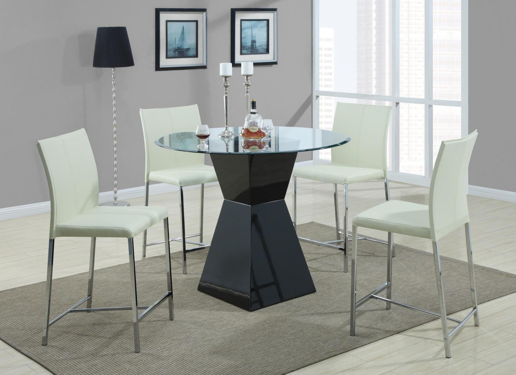 Ophelia Black Round Counter Height Dining Room Set 103736 Coaster