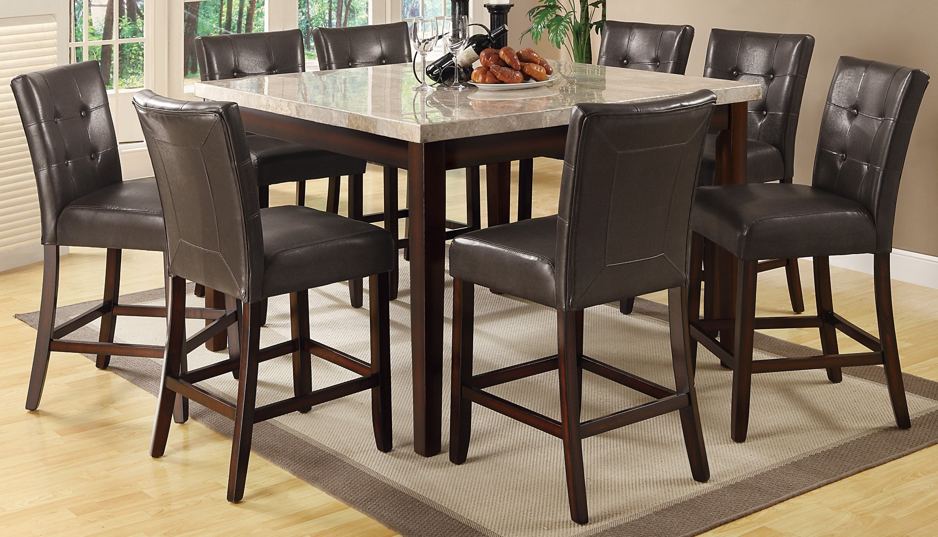 Milton cappuccino counter height dining room set from for Counter height dining room sets