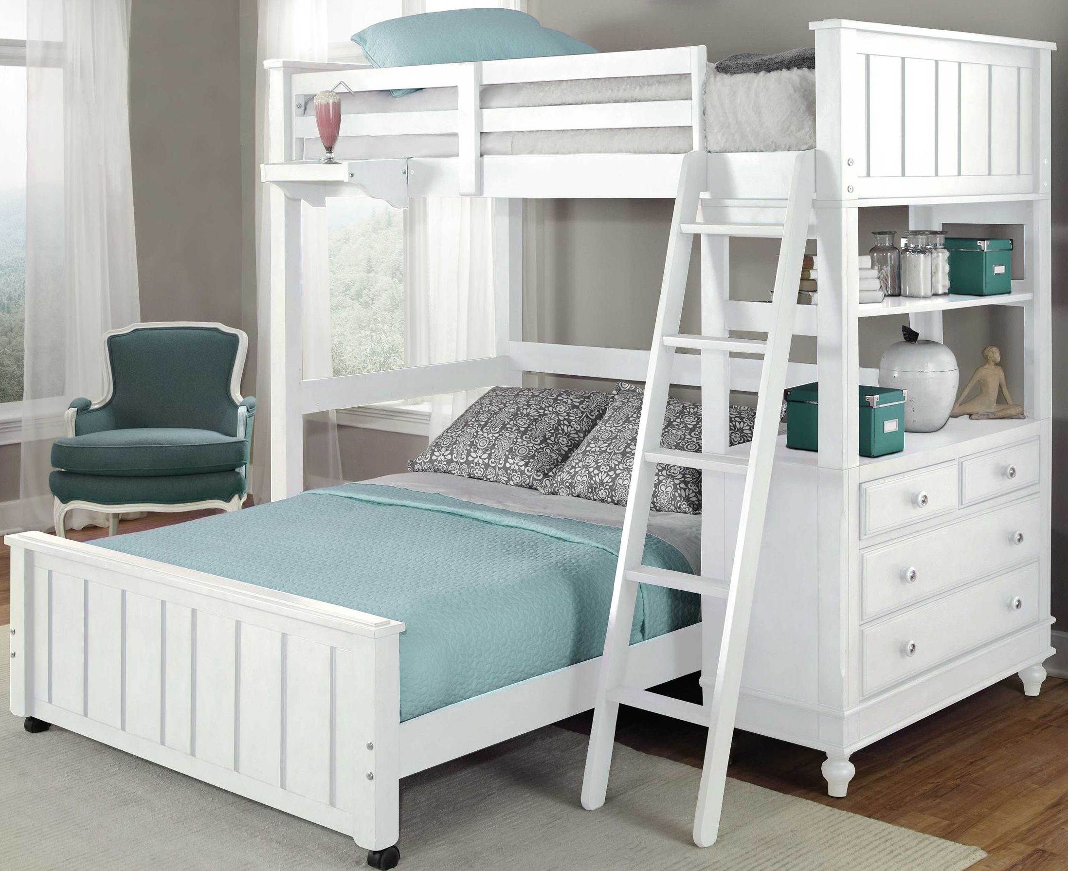 Lake house white twin loft bed with full lower bed for Loft net bed
