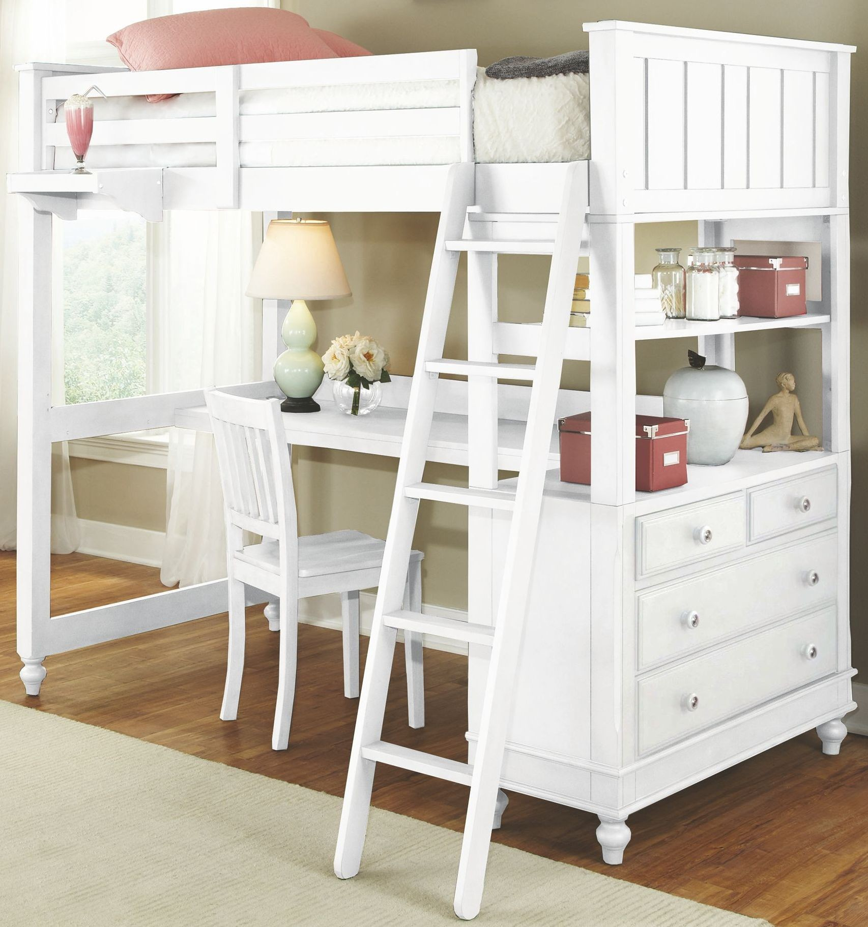 Lake house white twin loft bed with desk 1040nd ne kids for Loft net bed