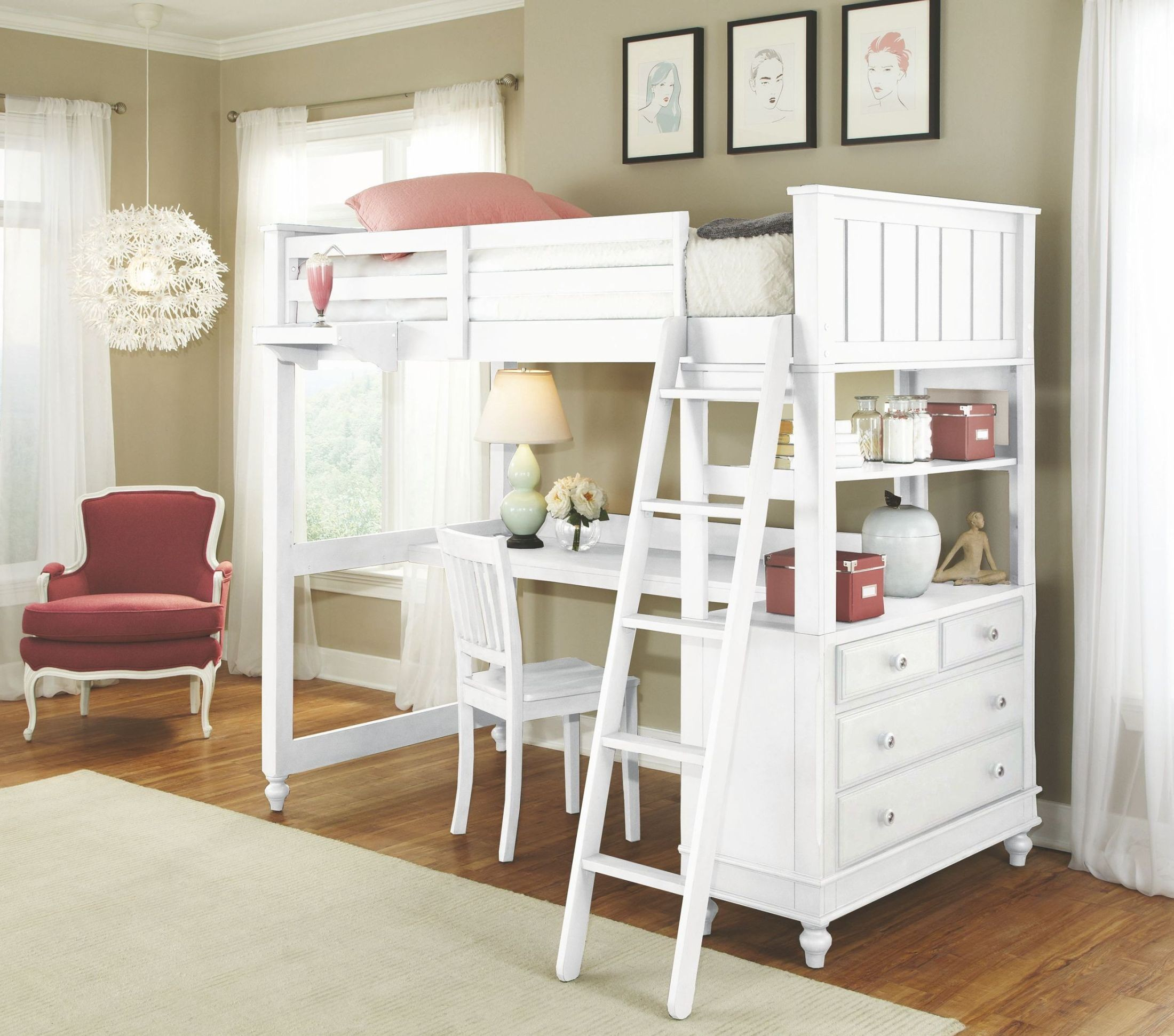 lake house white twin loft bed with desk 1040nd ne kids. Black Bedroom Furniture Sets. Home Design Ideas