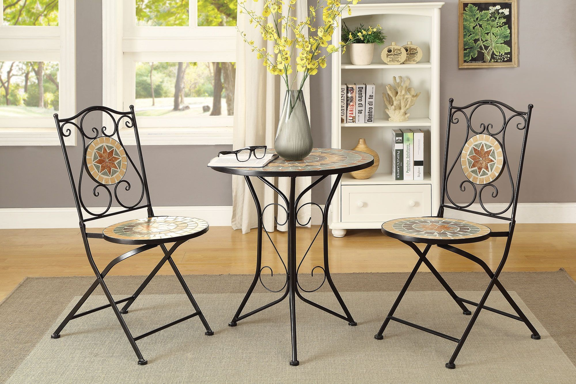 matte black 3 piece dining room set 104165 coaster furniture On 3 piece dining room