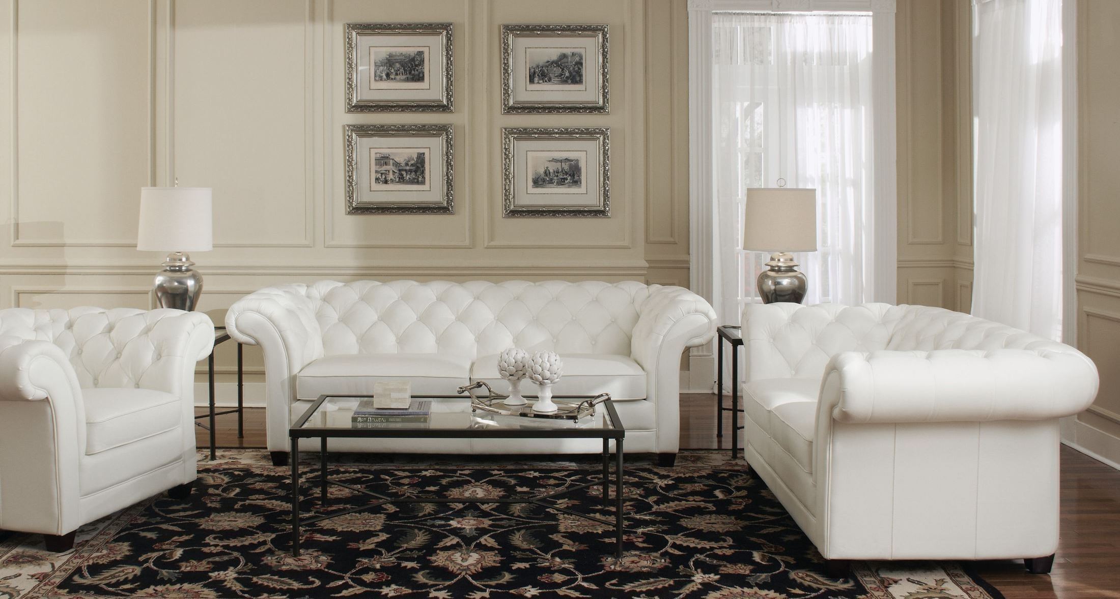 Victoria White Leather Living Room Set From Lazzaro Wh