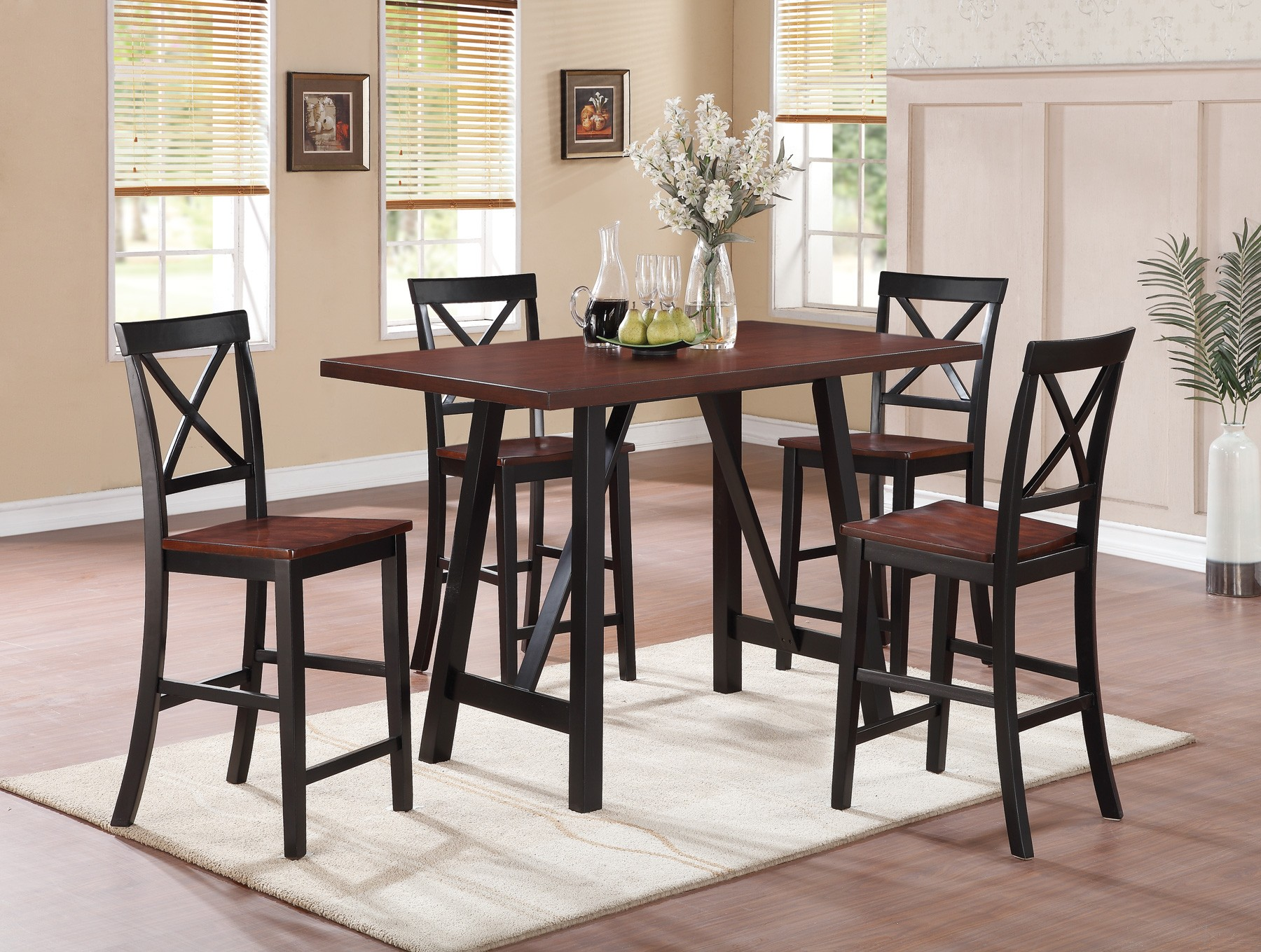 Makelim Black Walnut Counter Height Dining Room Set 104501 Coaster Furniture