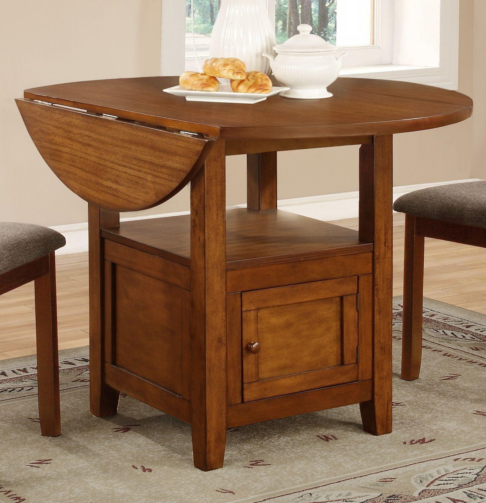 Stockton warm brown drop leaf round dining table 105401 for Round drop leaf dining table