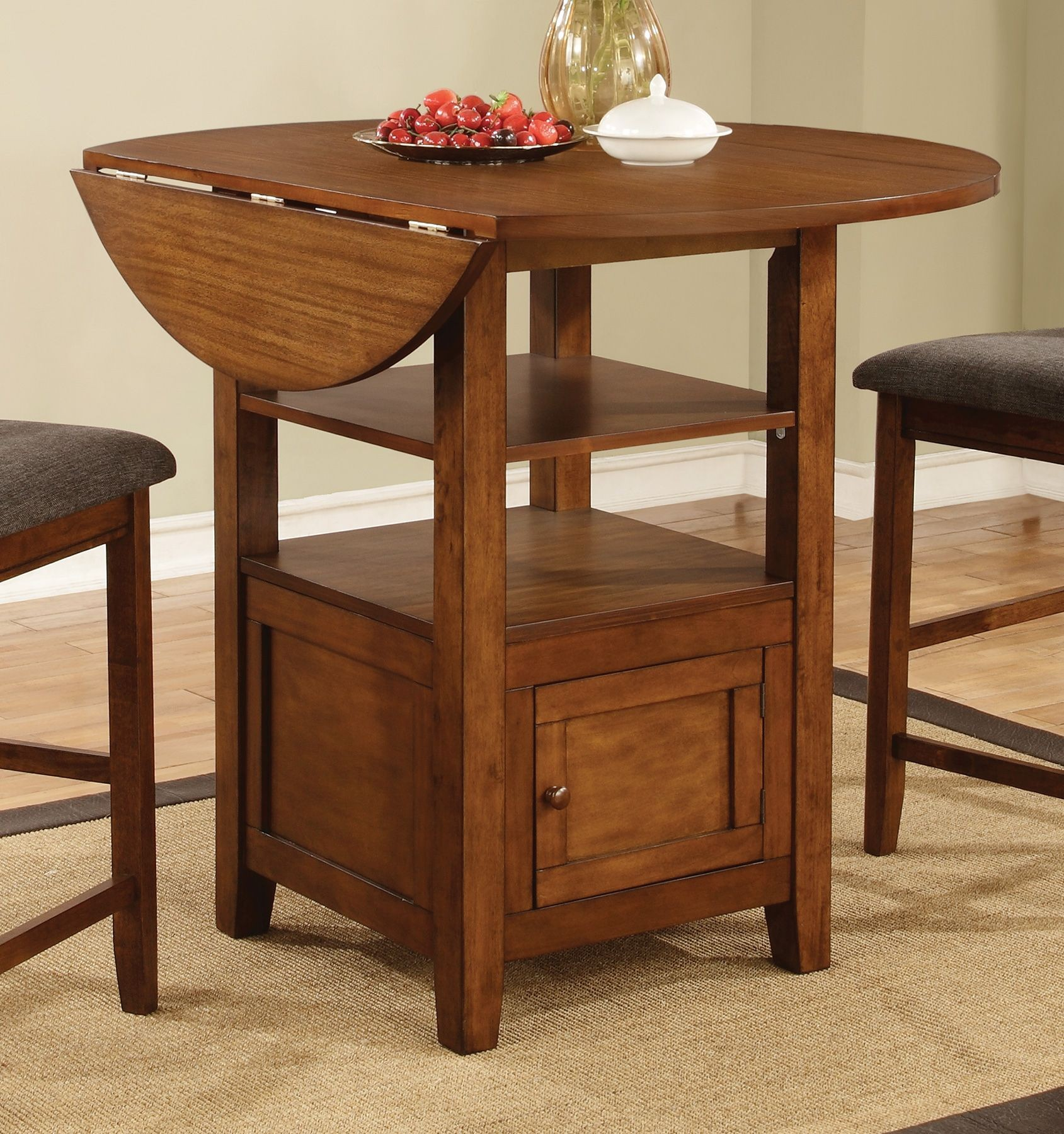 Stockton warm brown drop leaf round counter height dining for Round drop leaf dining table