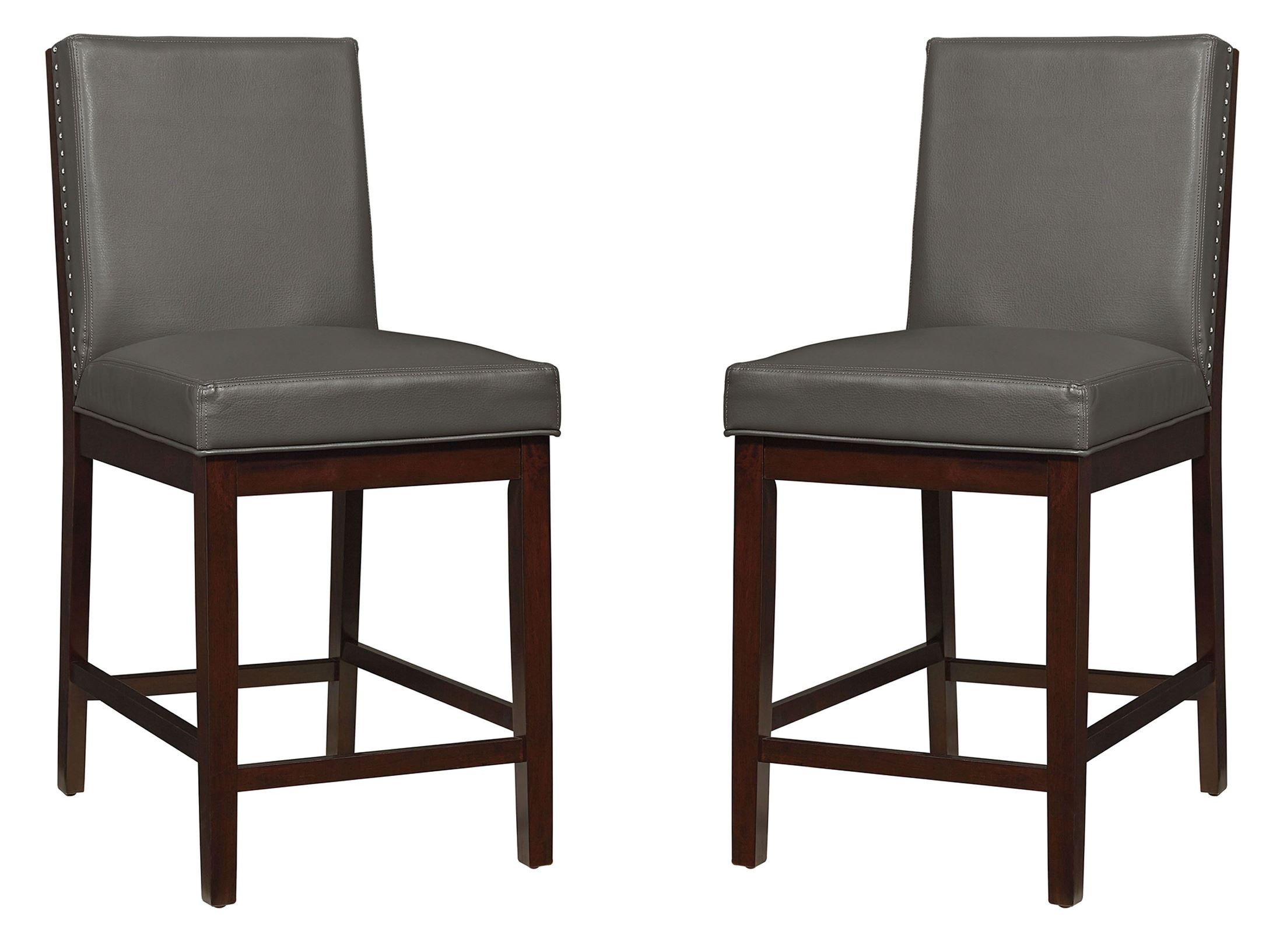 Couture Elegance Gray Upholstered Counter Height Chair Set of 2 from ...
