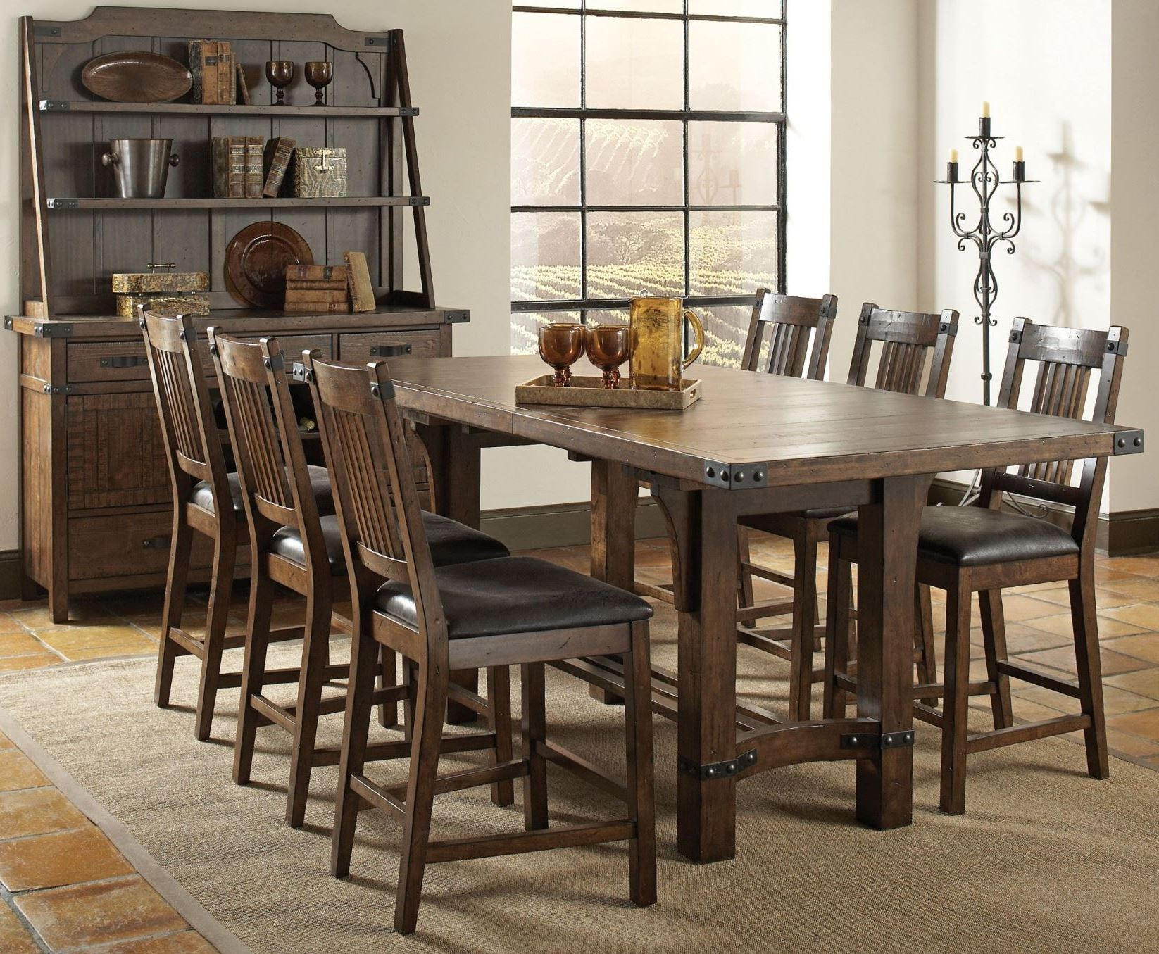 padima distressed cognac extendable counter height dining room set
