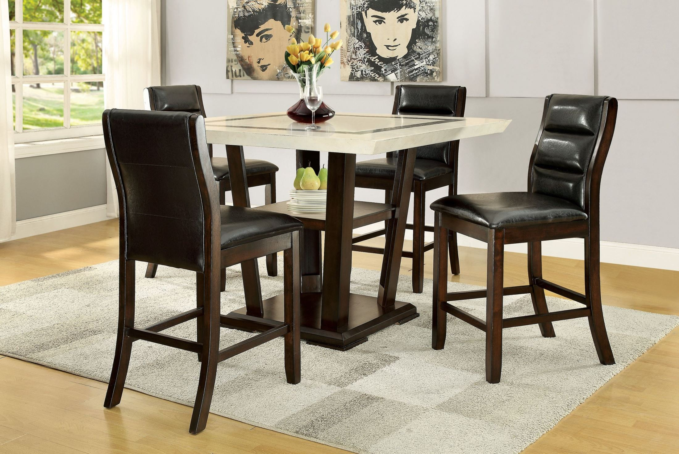 Lacombe Cappuccino Rectangular Counter Height Dining Room Set from ...