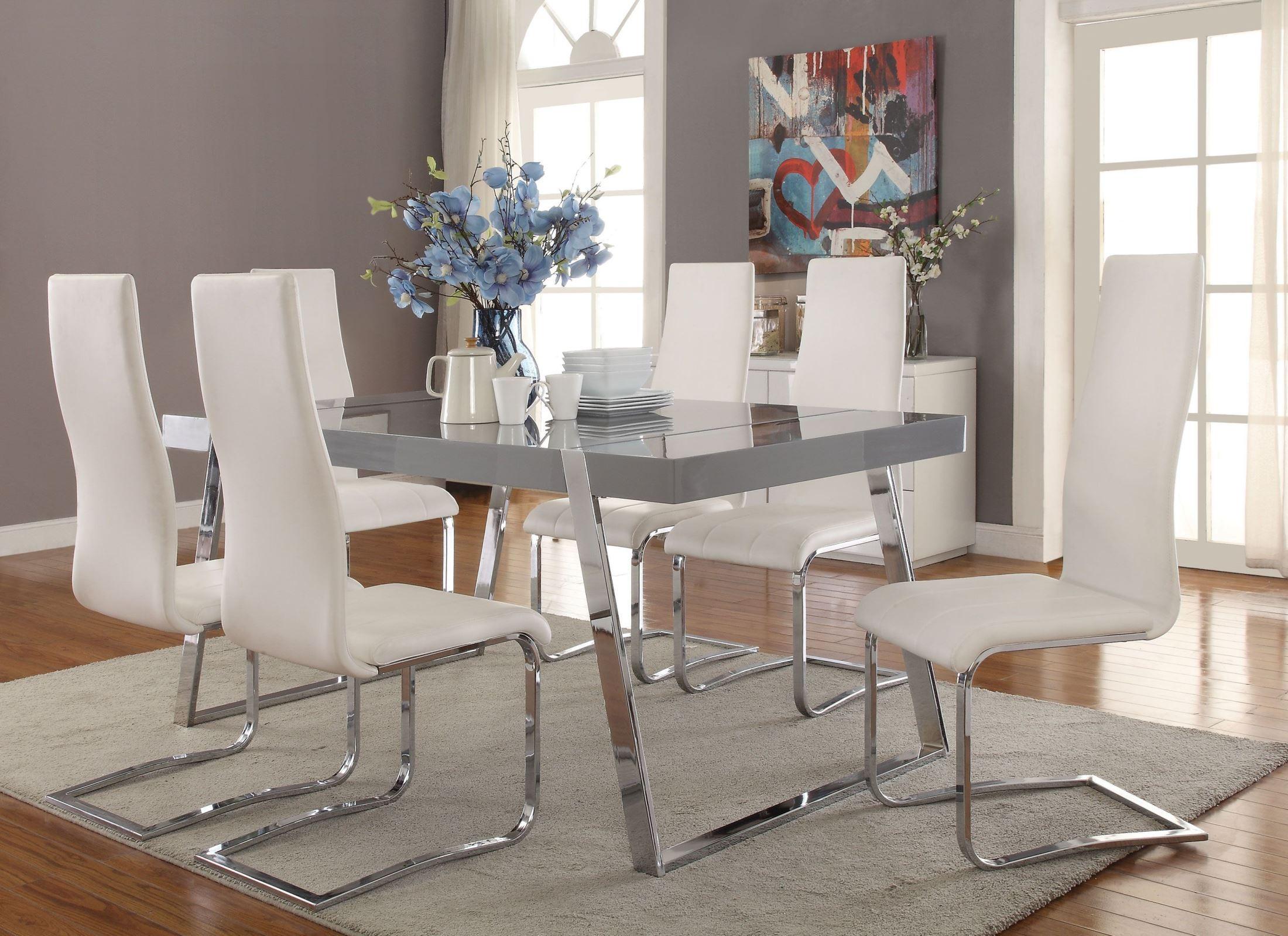 Giovanni High Gloss Grey Dining Room Set 106011 Coaster