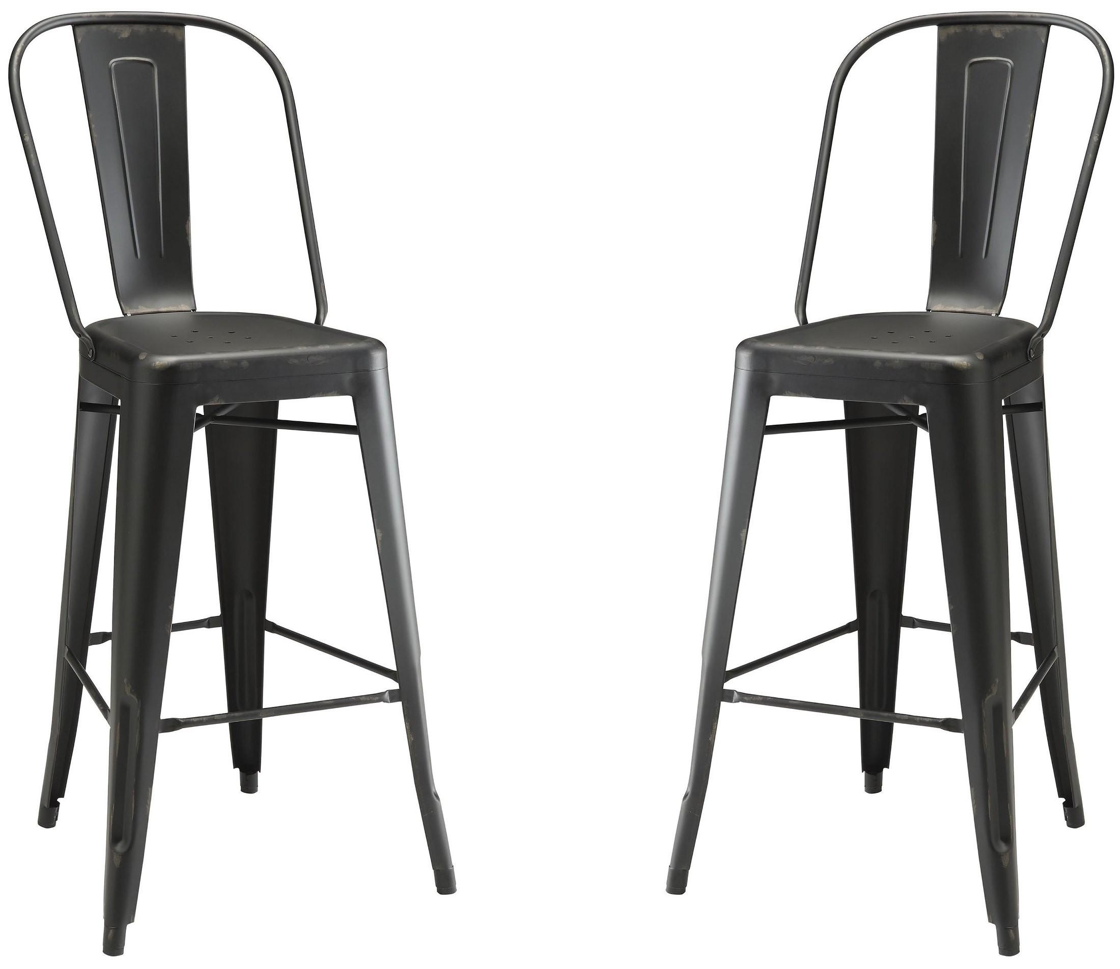 Black metal bar stool coaster furniture