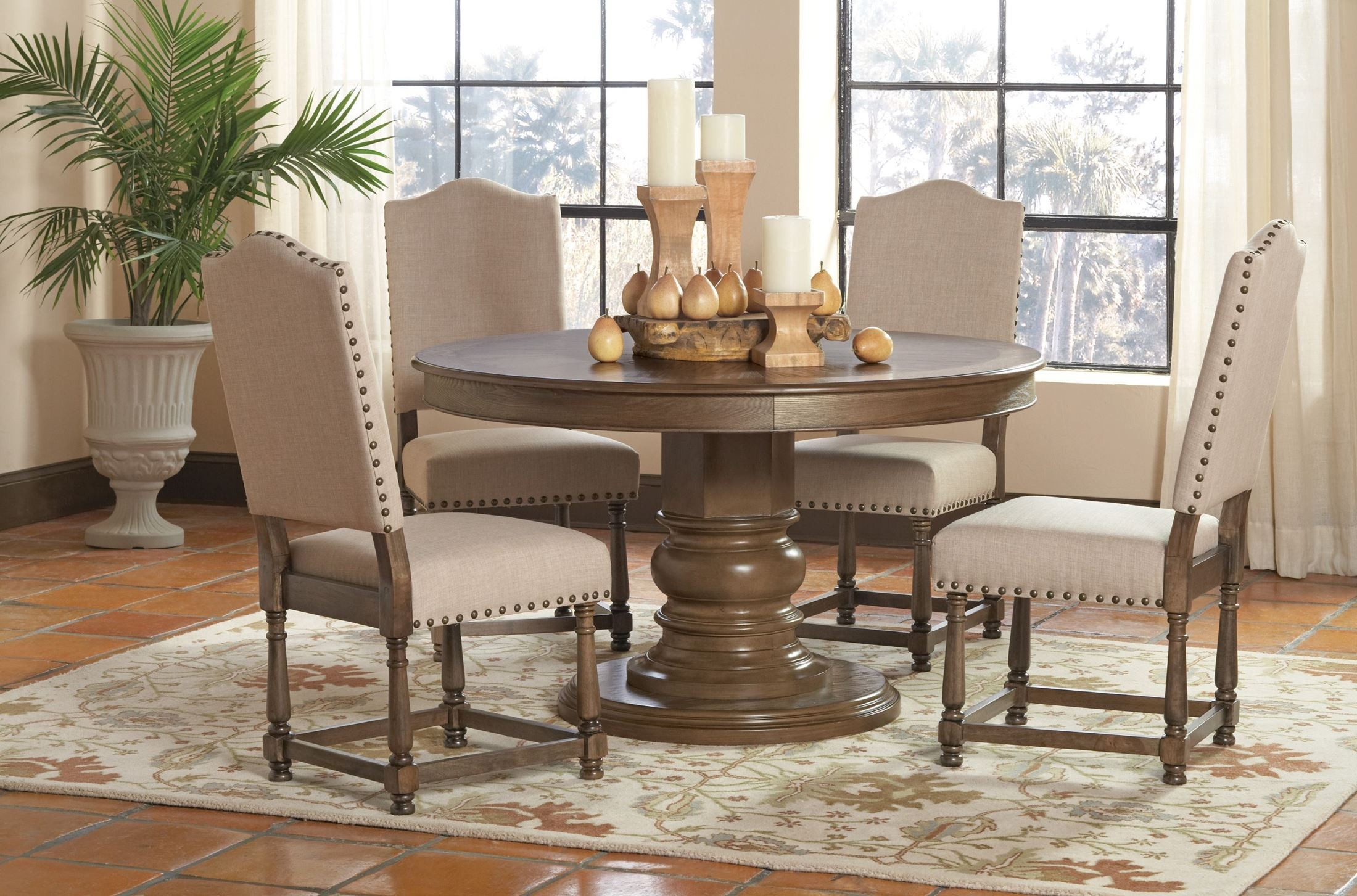 Willem antique ash brown round dining room set from for Brown dining room set