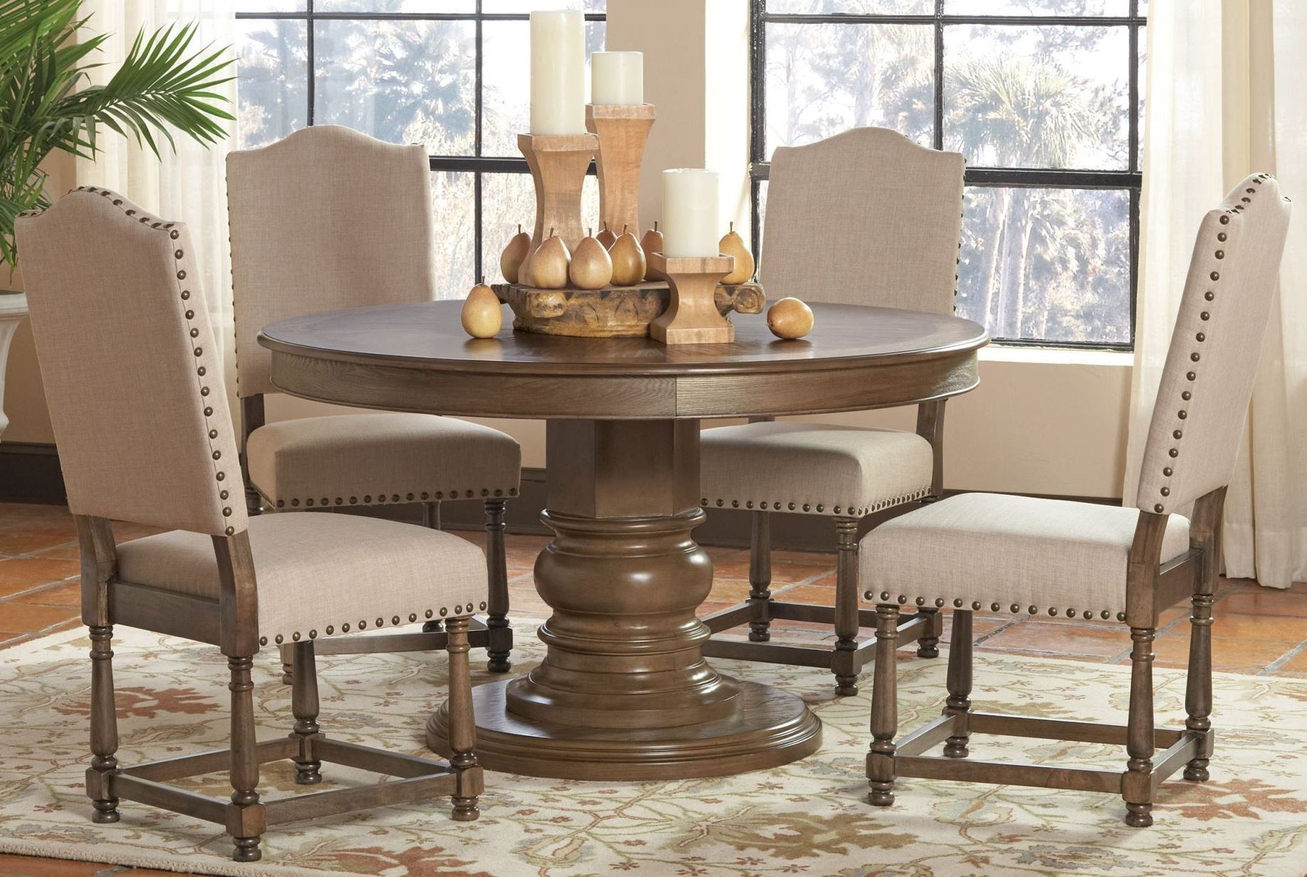 willem antique ash brown round dining room set from