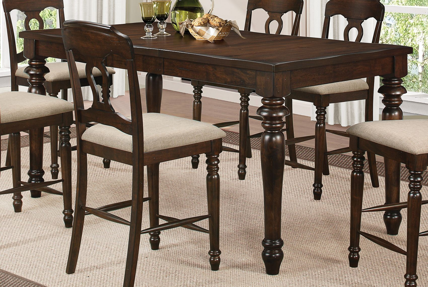 ... Tobacco Rectangular Counter Height Dining Room Set, 106358, Coaster