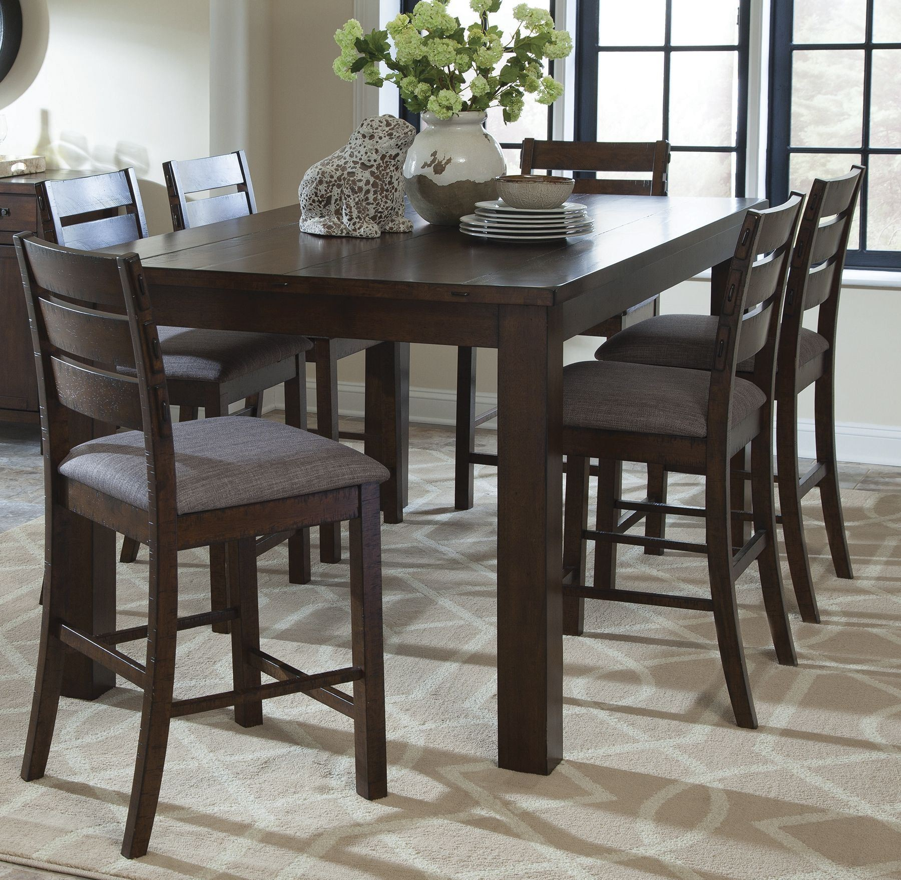 Counter Height Rustic Dining Sets : Wilshire Rustic Pecan Counter Height Dining Room Set, 106368, Coaster ...