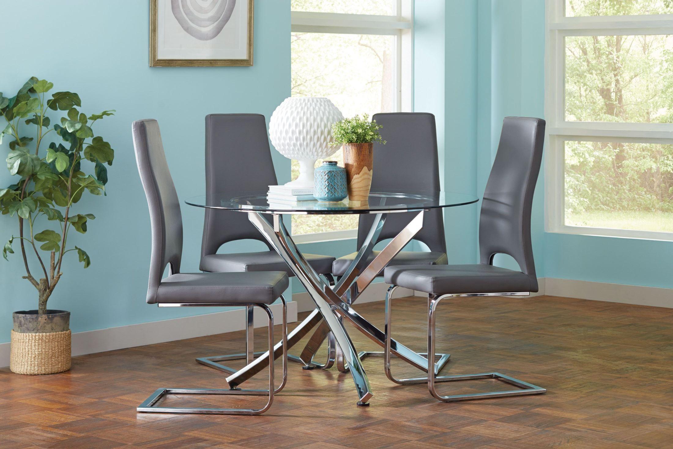 augustin chrome dining room set 106441 coaster furniture