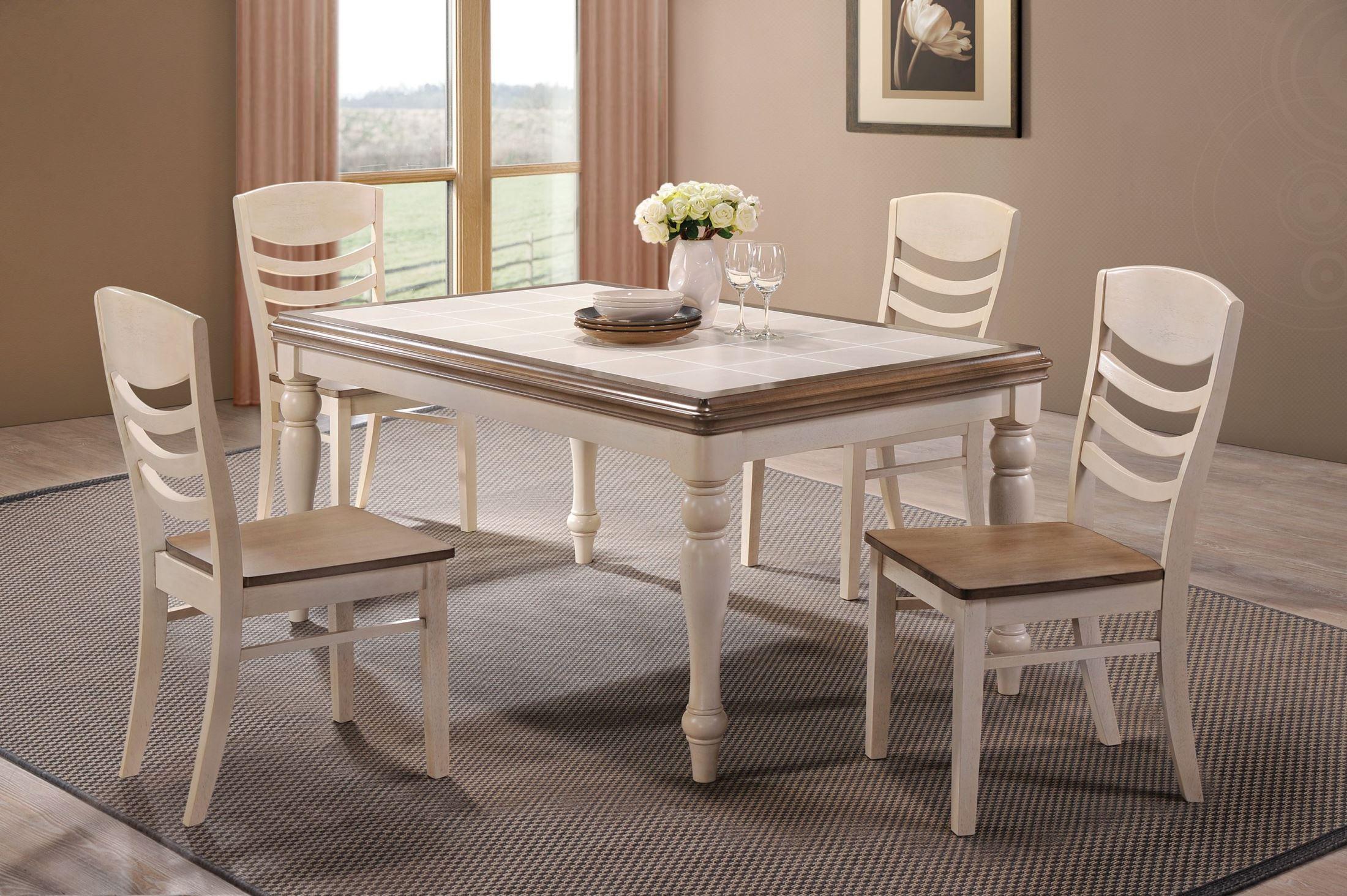 allston antique white rectangular dining room set from coaster 106451