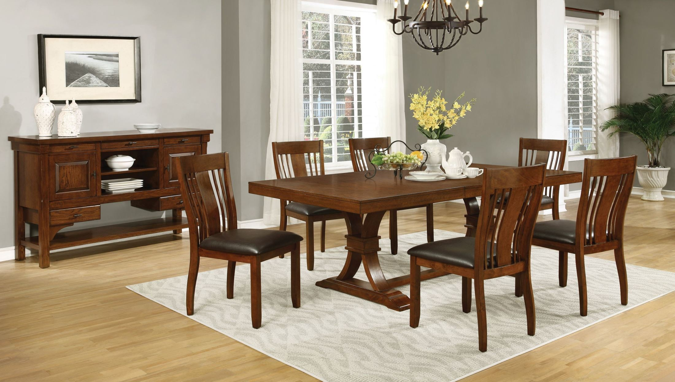 Abrams Truffle Extendable Rectangular Dining Room Set From Coaster 106481