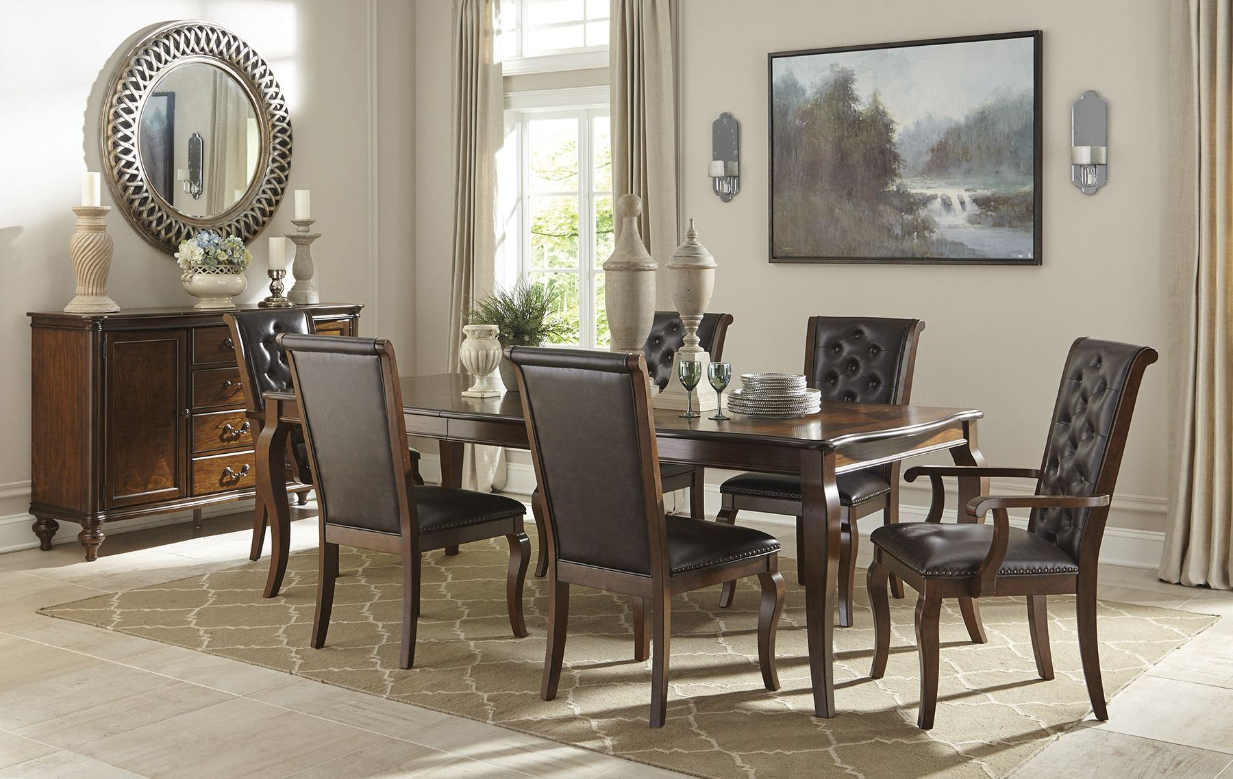 Williamsburg Roasted Chestnut Extendable Dining Room Set 106811 Coaster Fur
