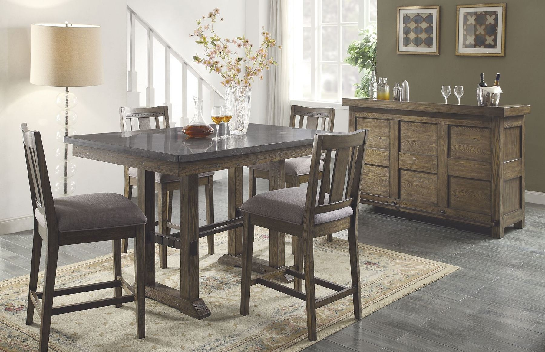 Willowbrook Rustic Ash Counter Height Dining Room Set 106988 Coaster Furniture