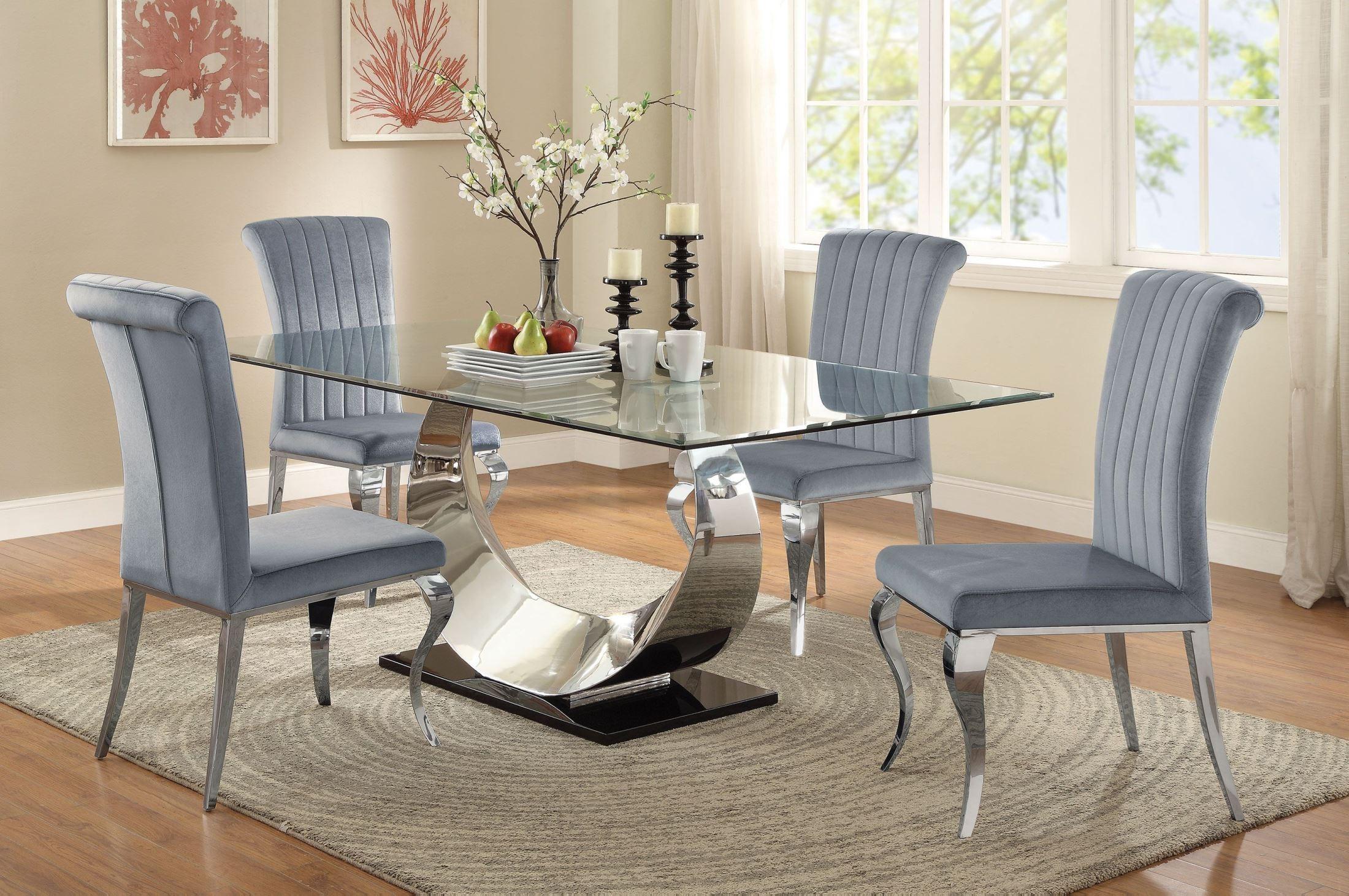Manessier Chrome Dining Room Set, 107051, Coaster Furniture