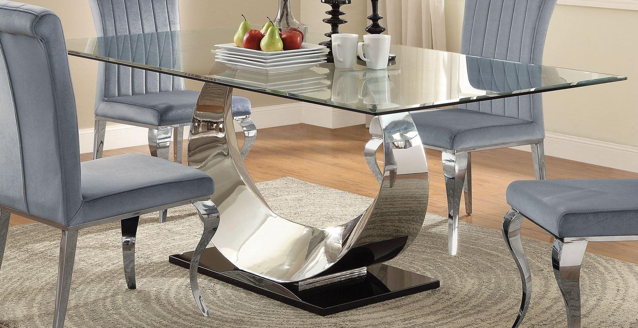 manessier chrome dining room set 107051 coaster furniture