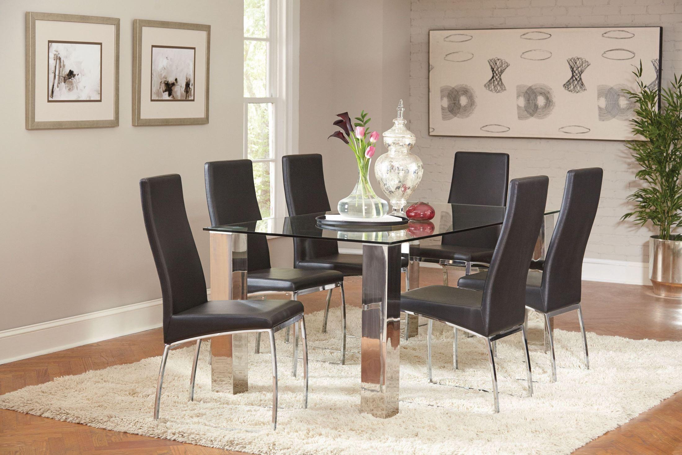 bellini chrome dining room set 107111 coaster furniture