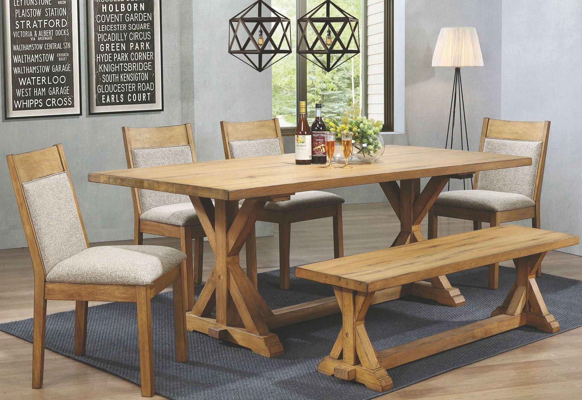 Douglas vintage white oak rectangular dining room set for Oak dining room set