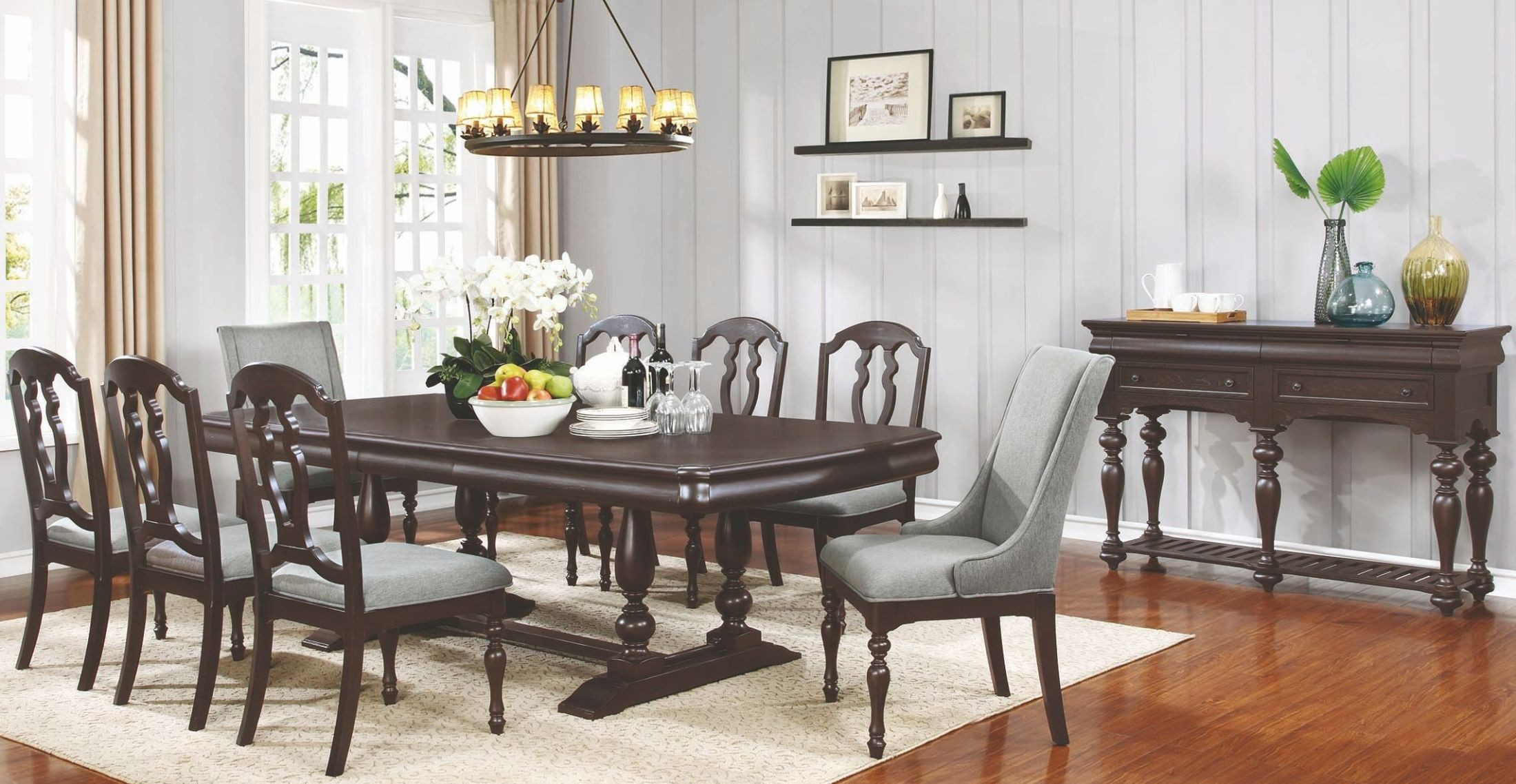 Leon Black Licorice Extendable Rectangular Dining Room Set 107331 Coaster F