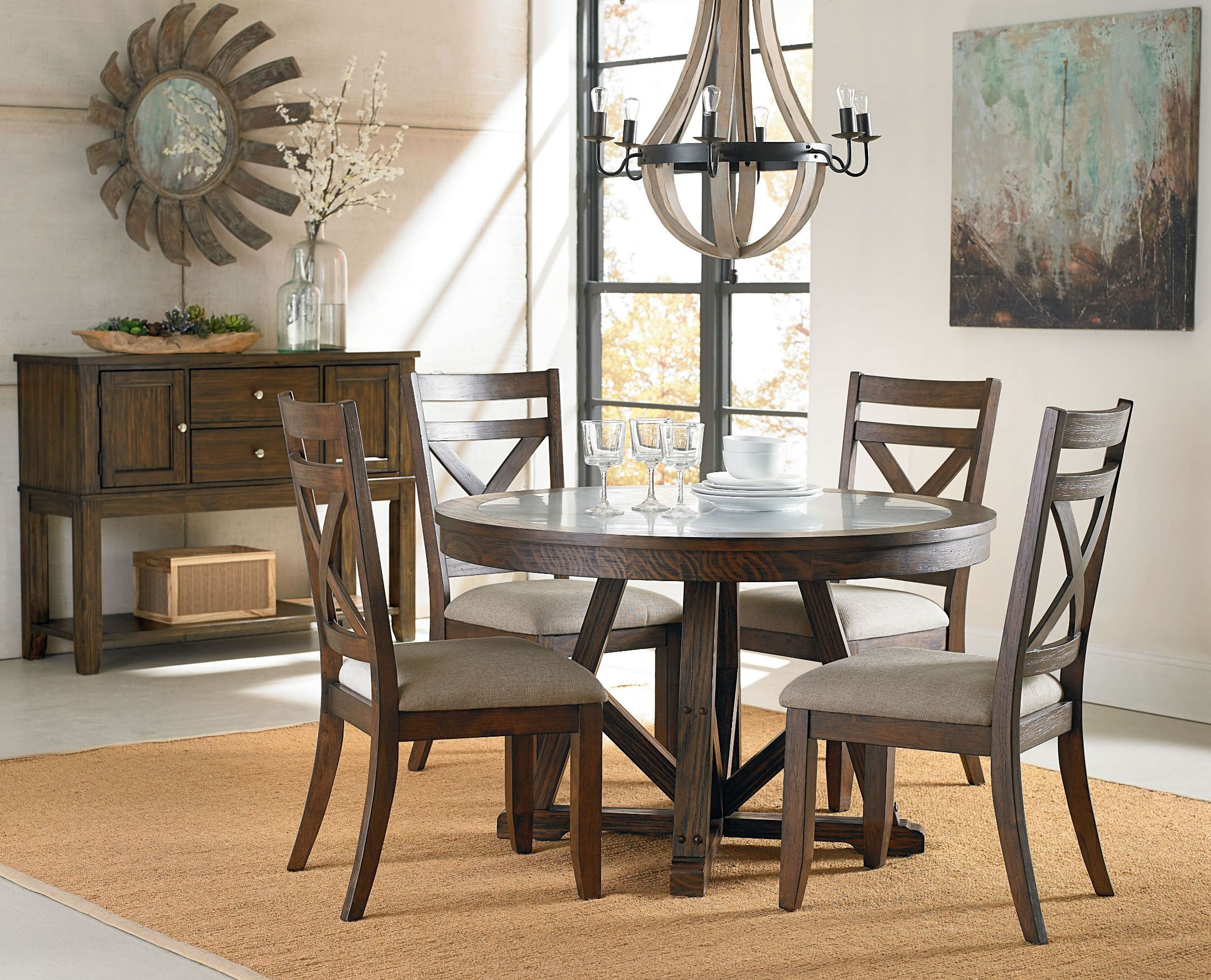Carter seasoned brown round dining room set 10881 for Brown dining room set