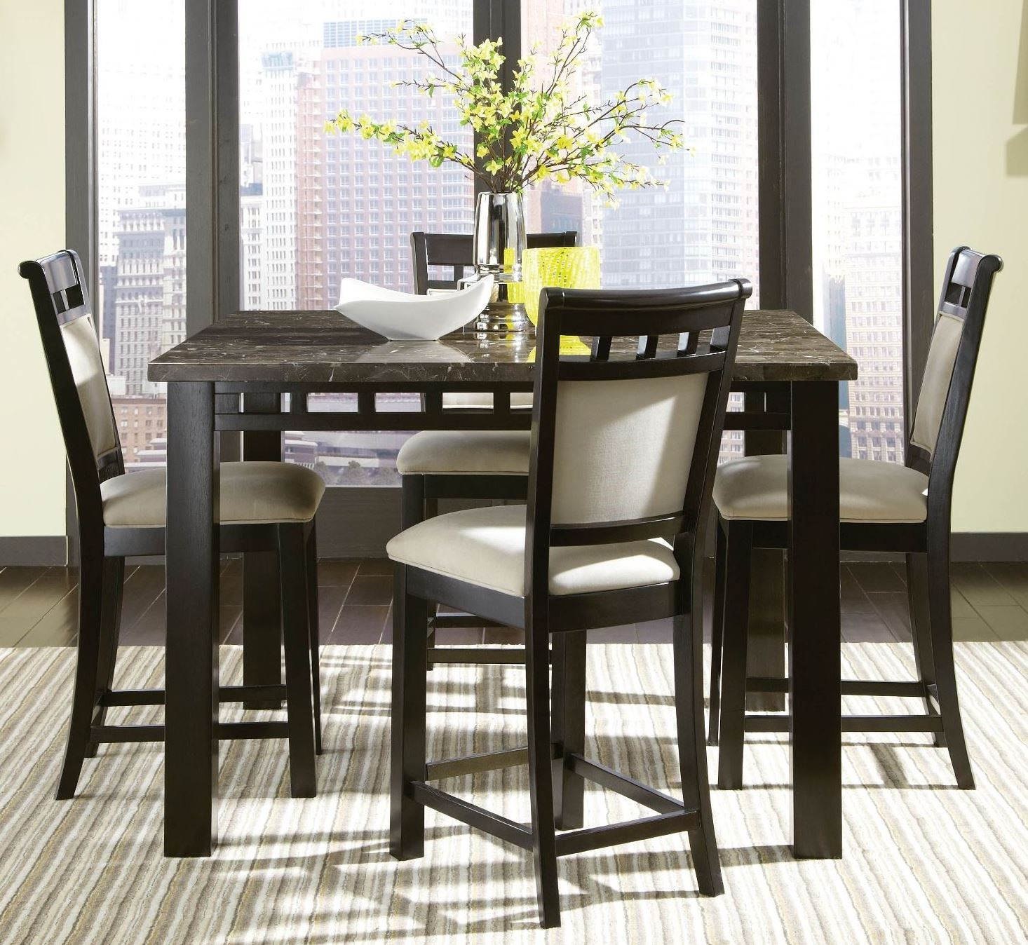 Gateway brown and gray counter height dining room set from for Brown dining room set
