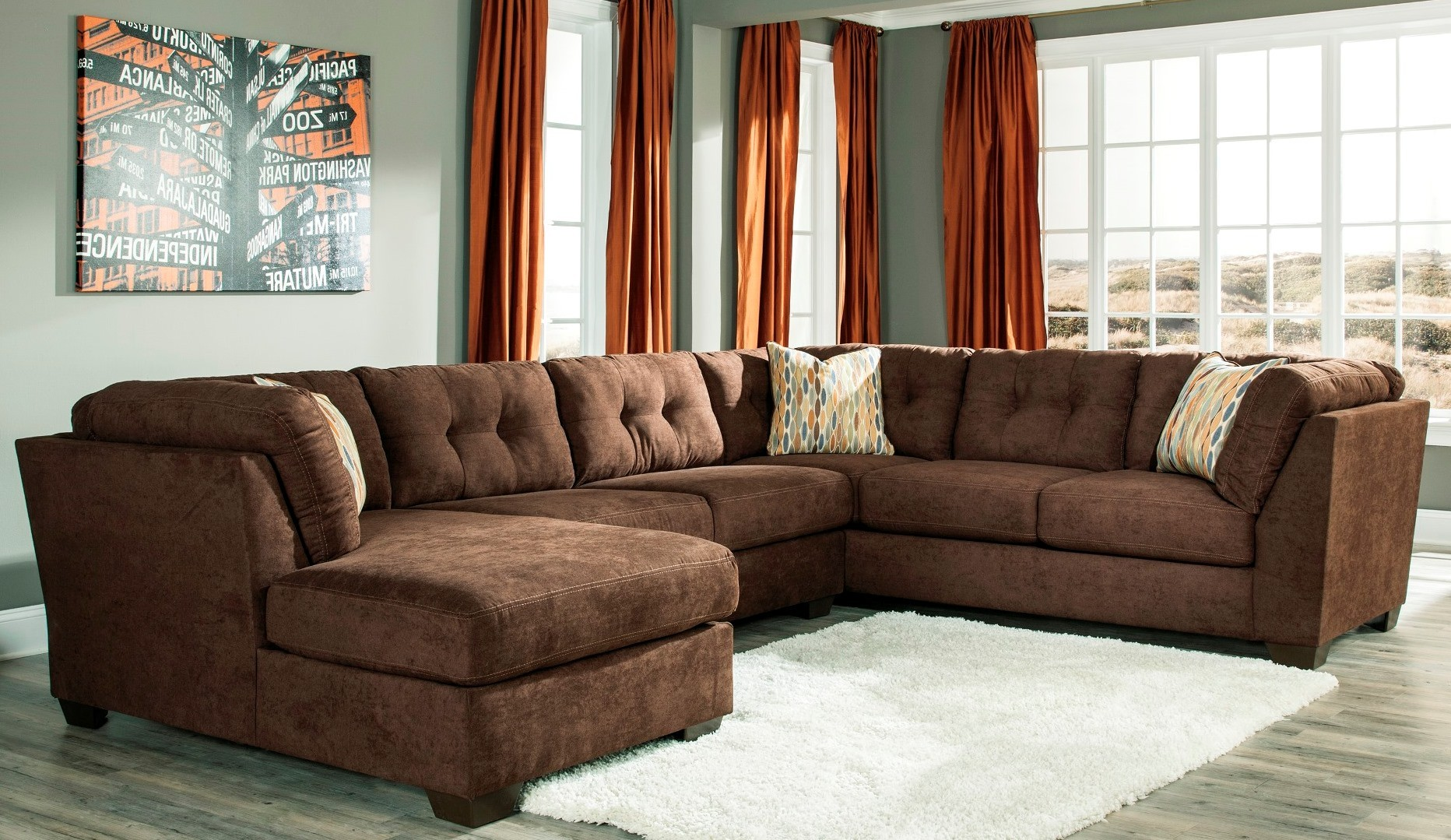Delta City Chocolate Laf Sectional From Ashley 19702 16 34 38 Coleman Furniture