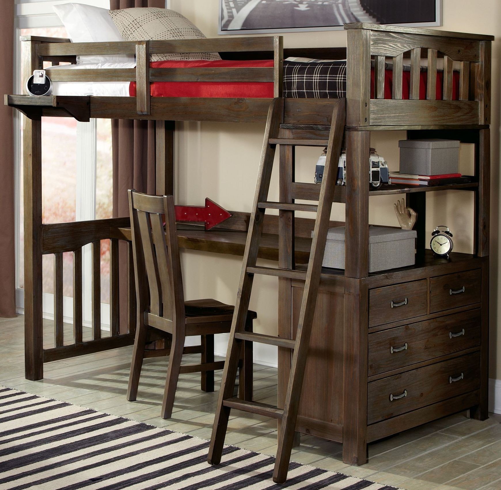 Espresso Twin Bunk Beds ~ Highlands espresso twin loft bed with desk and chair