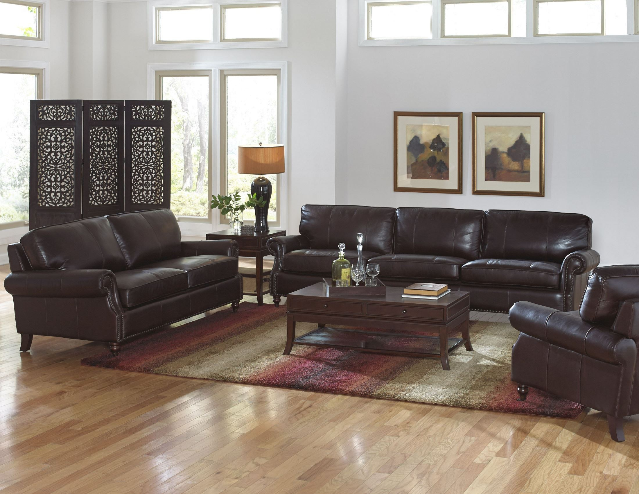 Stockton Dark Chocolate Leather Four Seat Sofa From Lazzaro Wh 1120 40 9012g Coleman Furniture