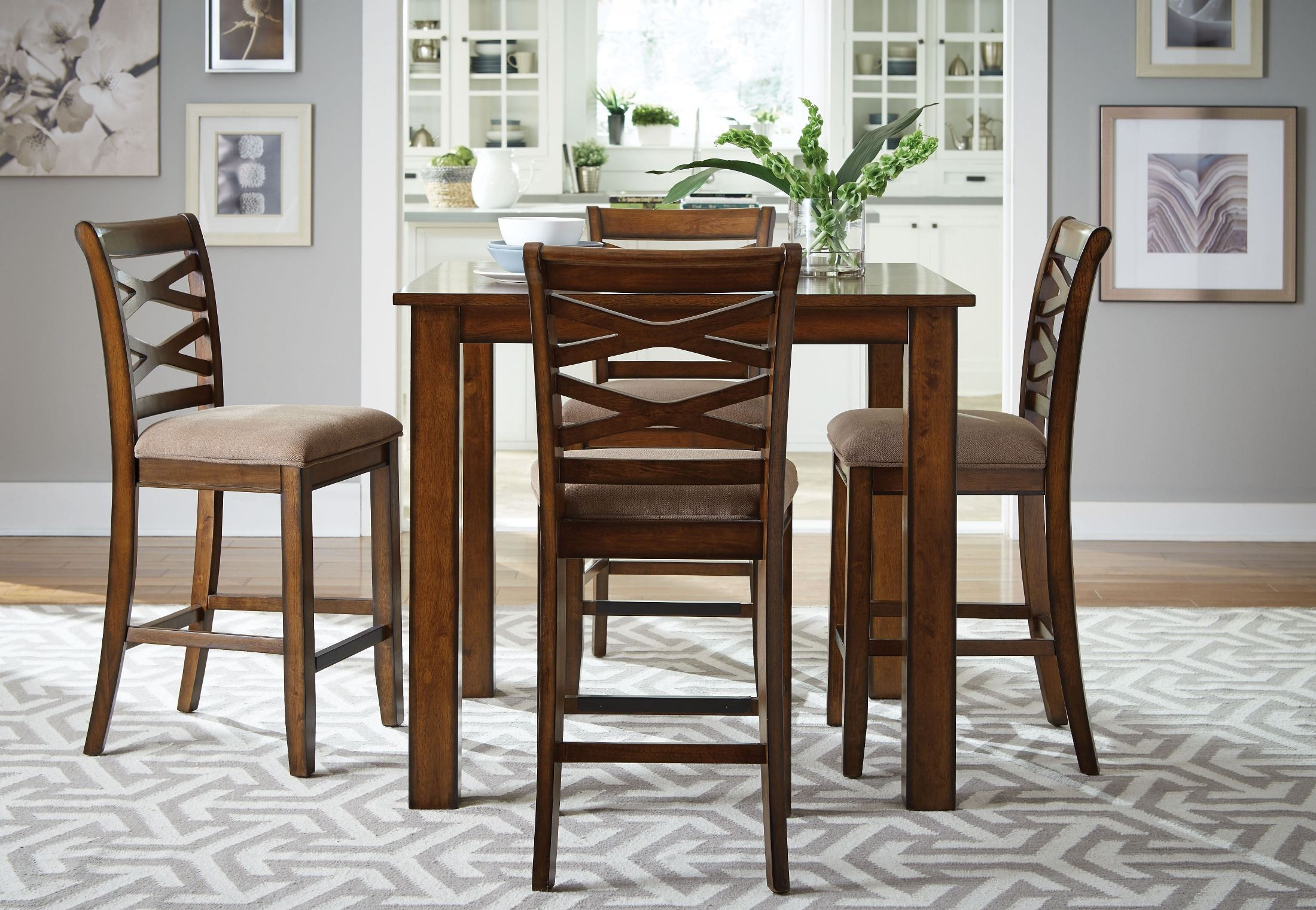 Redondo vibrant cherry 5 piece counter height dining room for 9 piece dining room set counter height