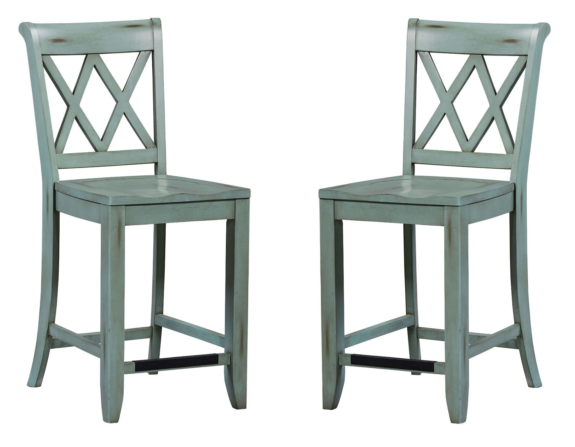 Vintage Antique Blue X-Back Counter Height Stool Set of 2 from ...
