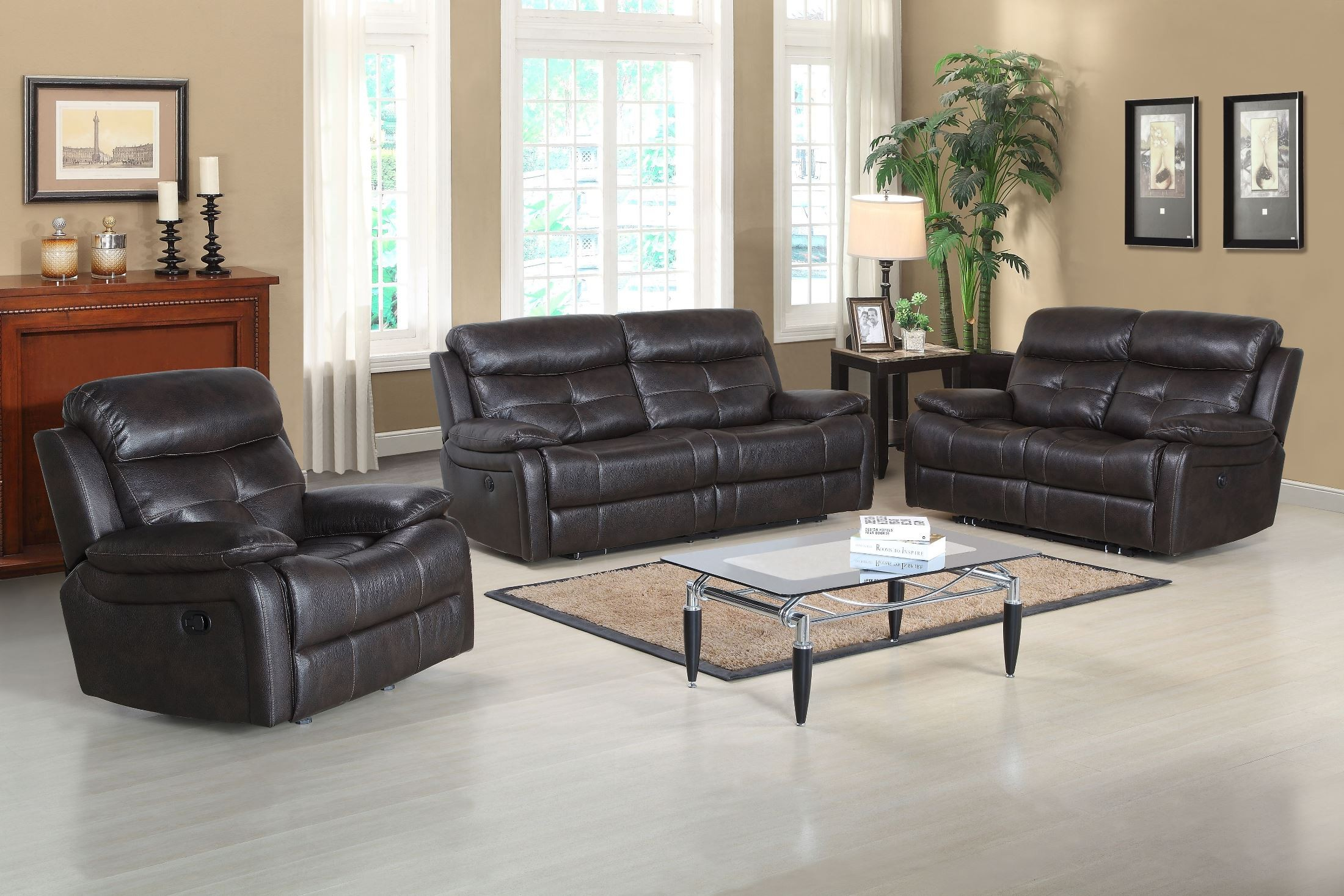 Metro jordan java power reclining living room set from for Living room june jordan