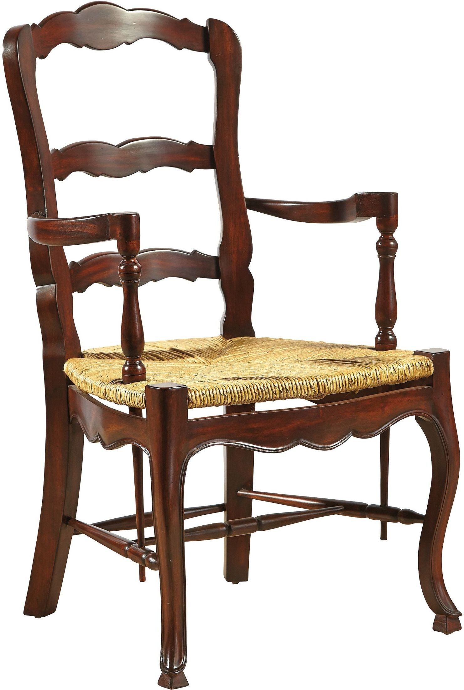 Country French Brown Ladderback Arm Chair 1146pa