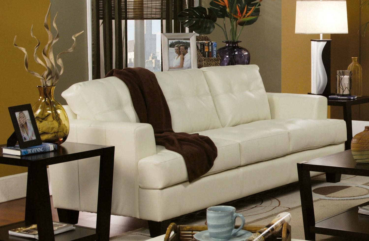 samuel cream leather living room set 501691 from coaster 501691