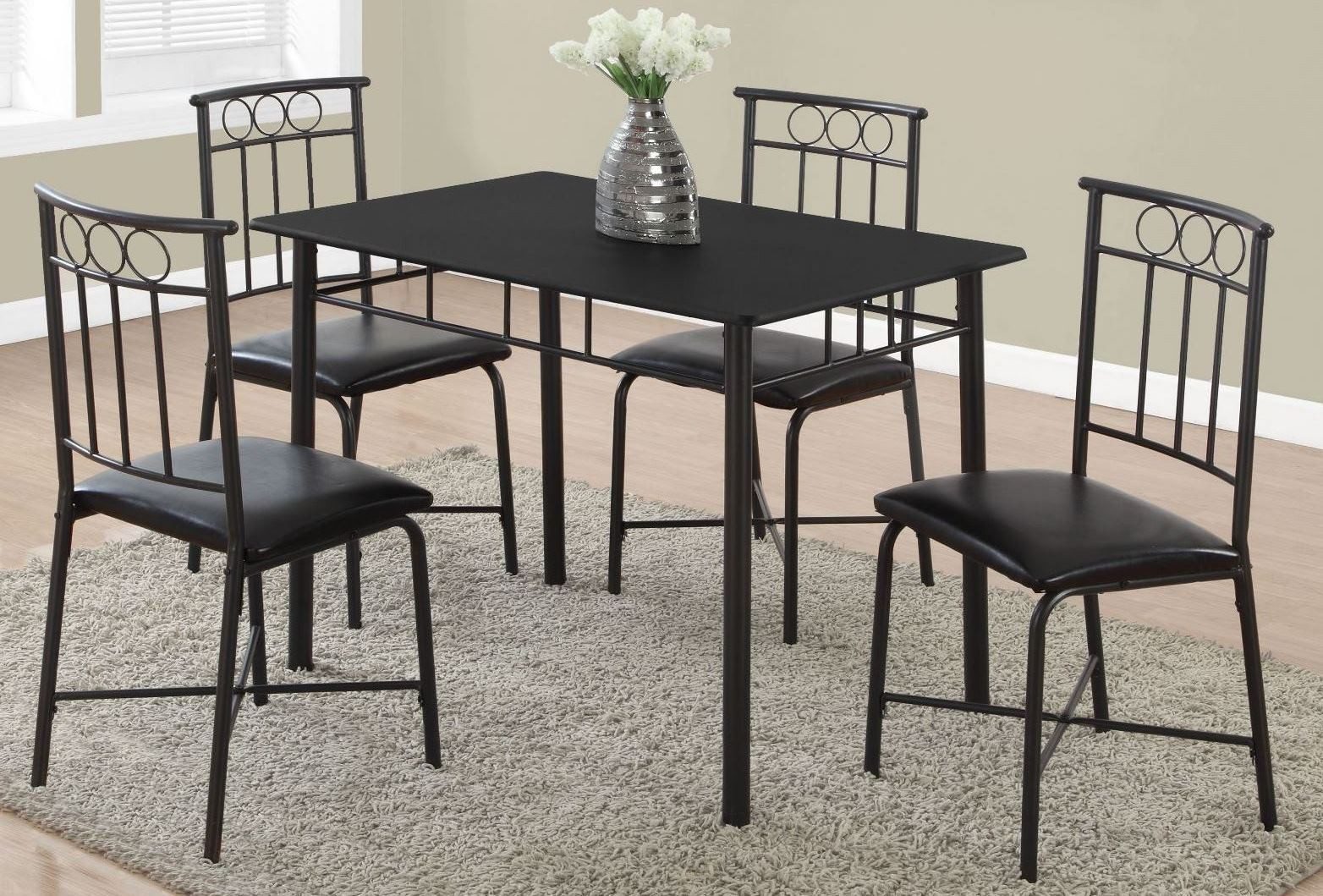 Black metal 5 piece dining room set 1018 monarch for Black dining room set