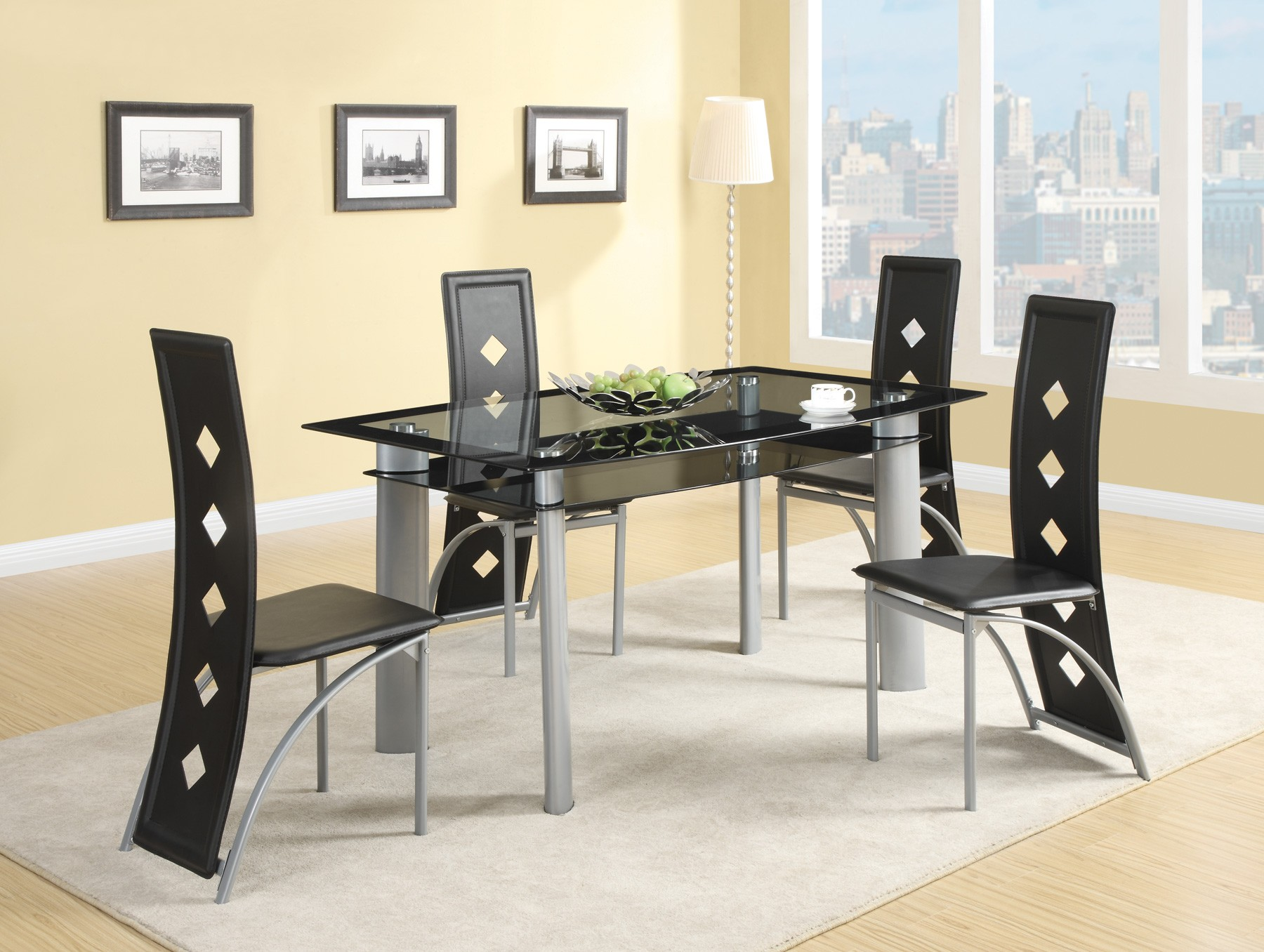 fontana silver metal dining room set from coaster 121051