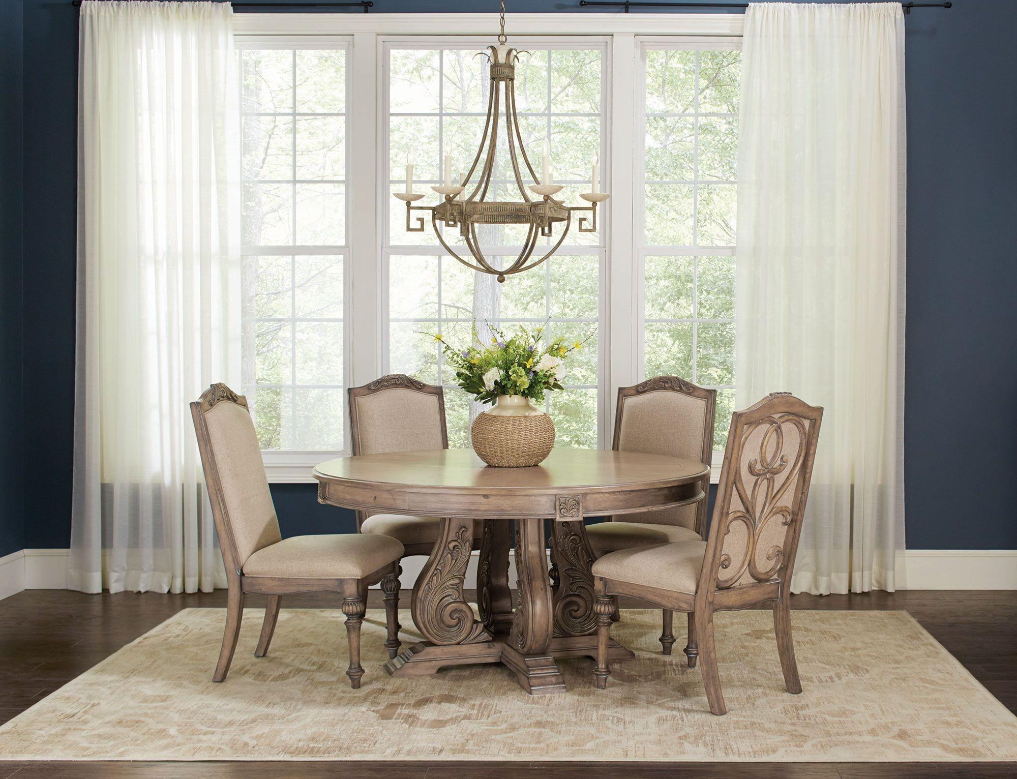 ilanadining antique linen round dining room set 122210