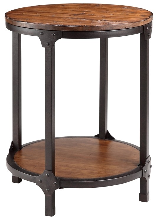 Kirstin Wood amp Metal Round End Table From Steinworld