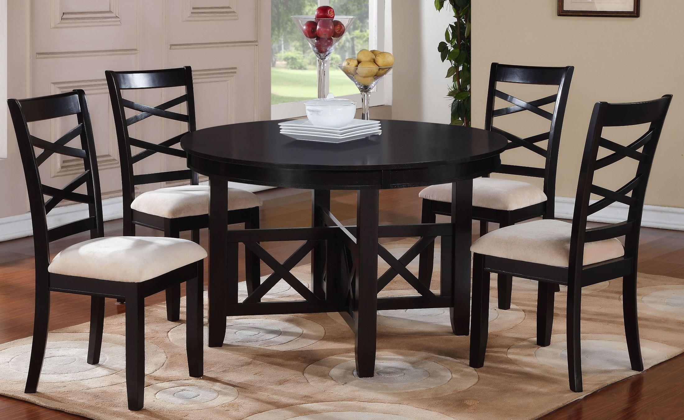 Epiphany dark java brown round dining room set 12542 for Brown dining room set