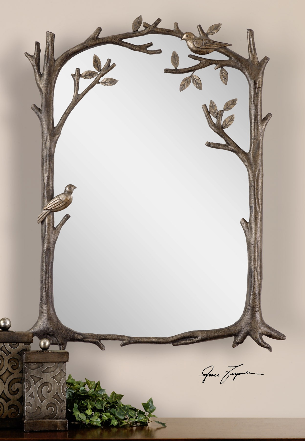 Perching birds small decorative mirror 12789 mirrors for Small decorative mirrors