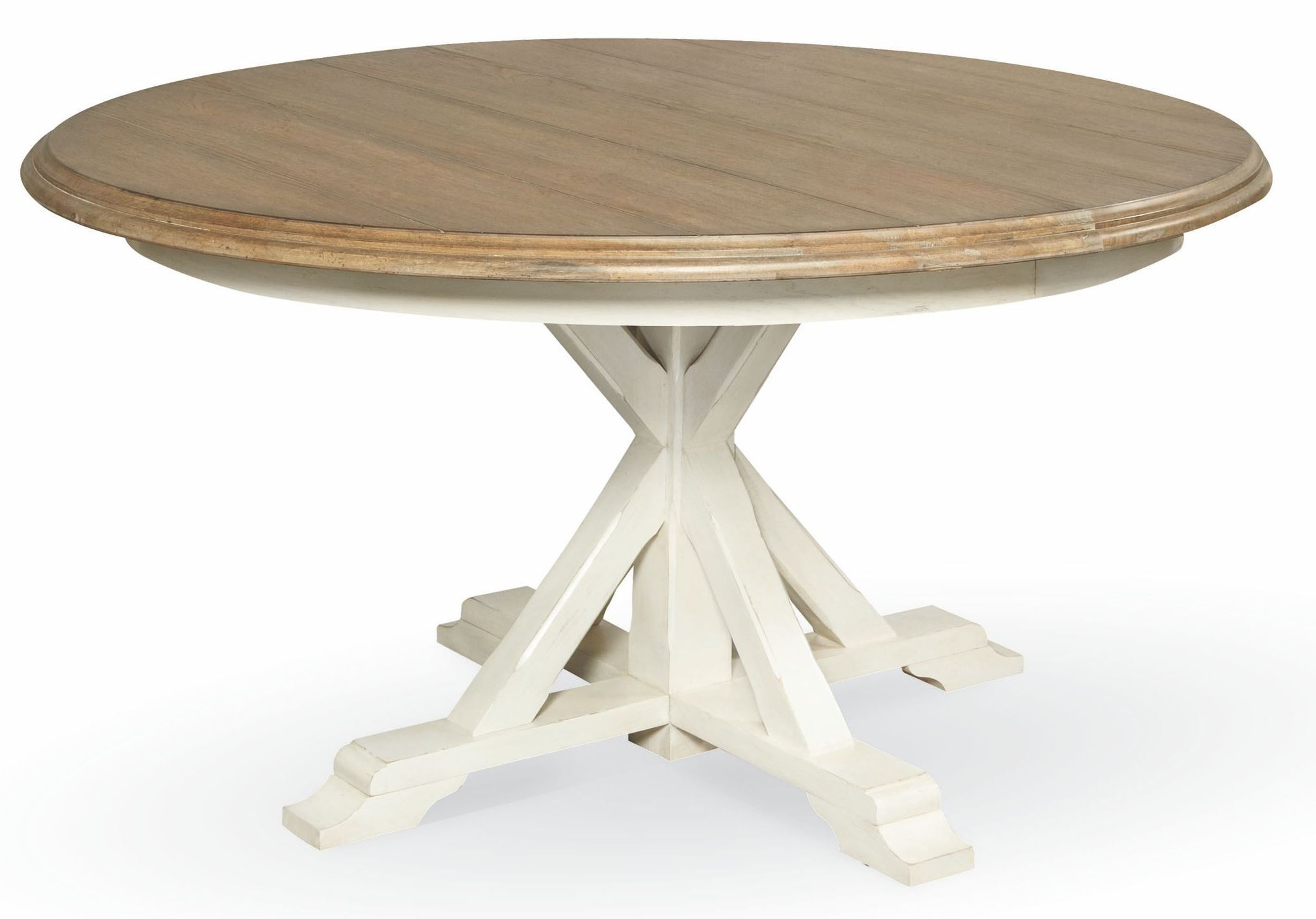 round pedestal dining table in antique white